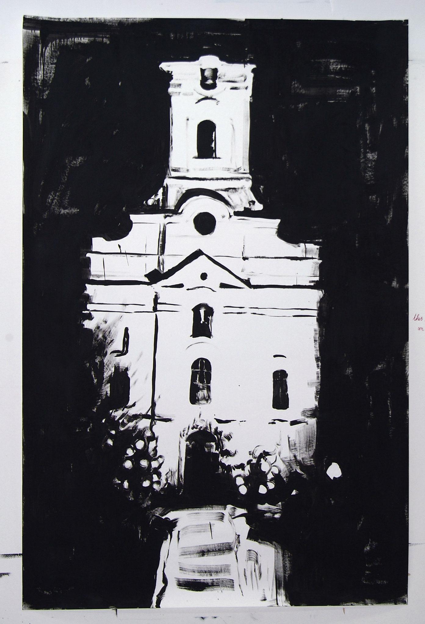 """Dolcedo"" 2009, 230 x 150 cm, Öl auf Karton"