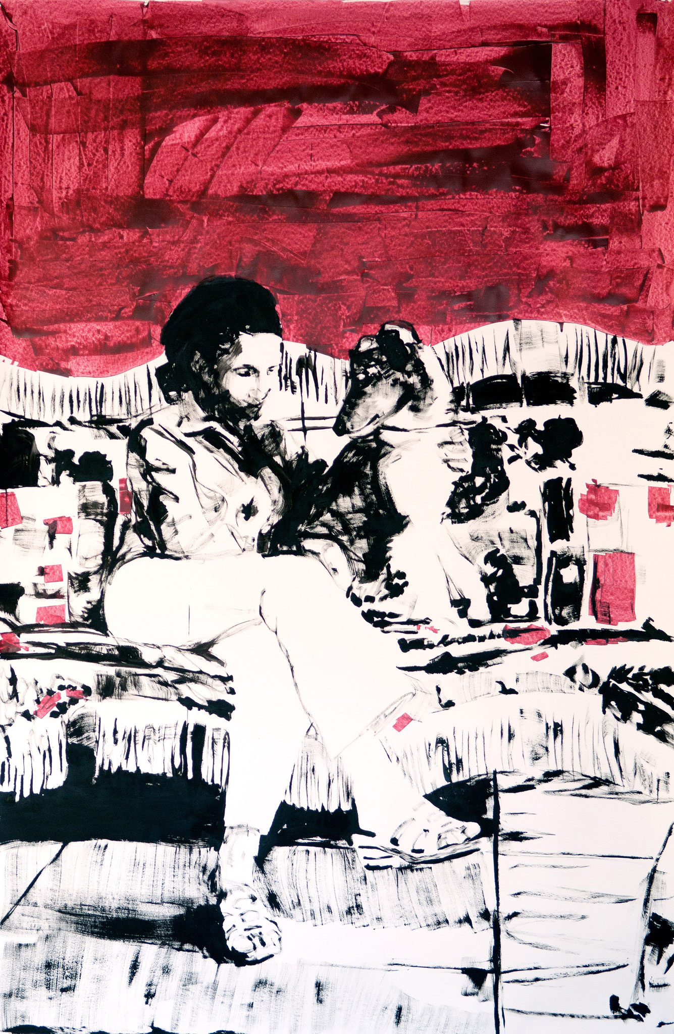 """""""Collie-Welpe mit Frauchen"""" 2010, 230 x 150 cm, Öl und Acryl auf Karton"""