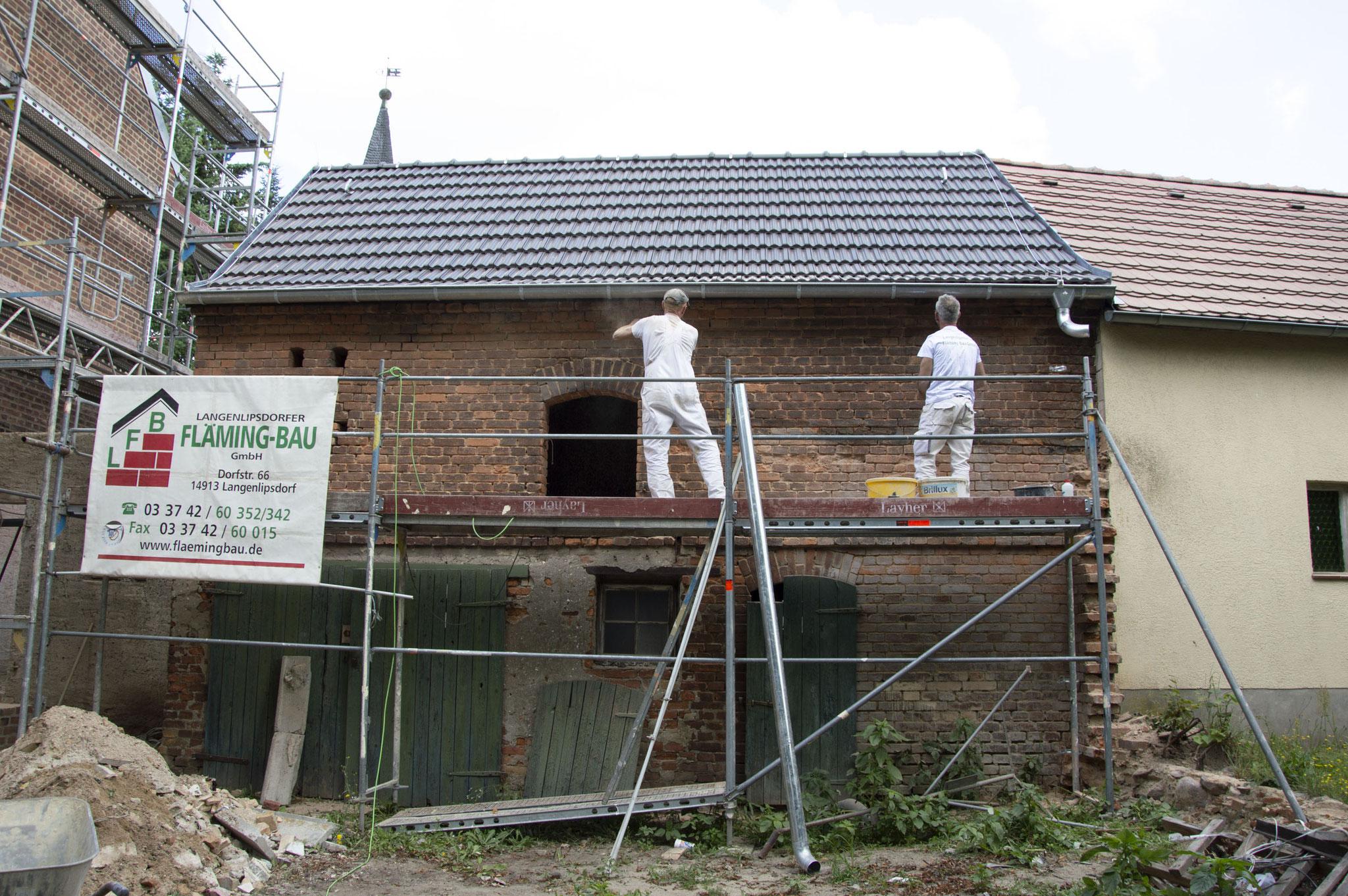 Gemeindehaus Danna (während der Bauzeit)