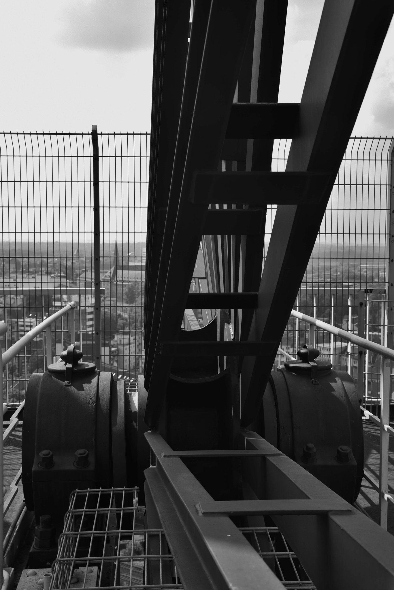 Auf dem Förderturm des Bergbaumuseums Bochum