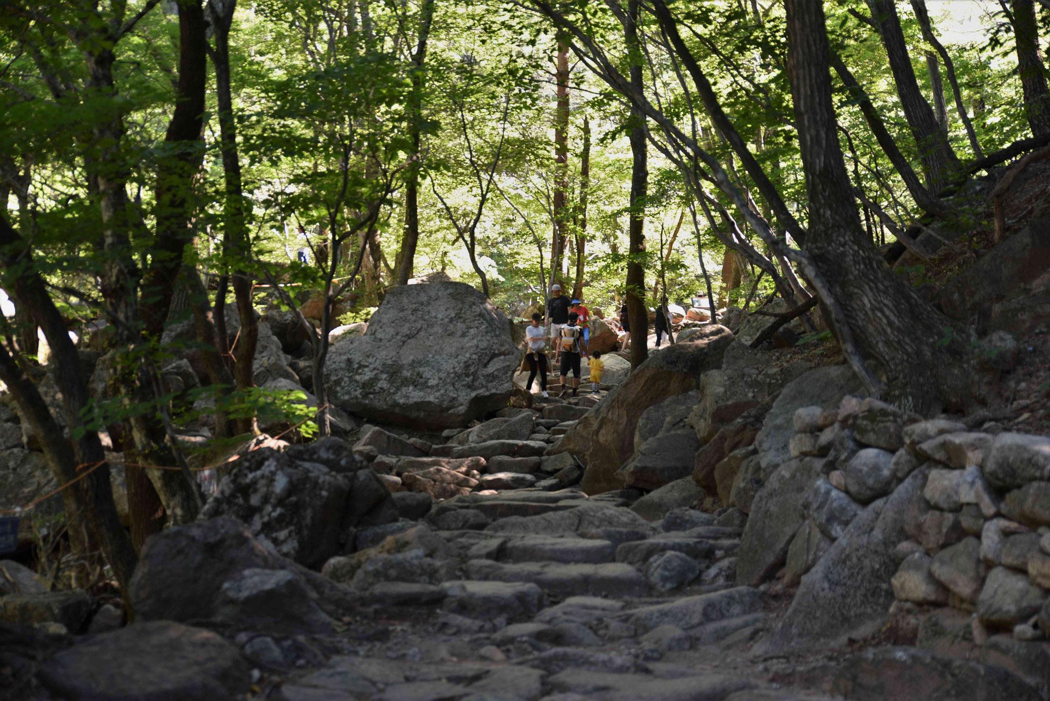 Wanderung zu einem Wasserfall im Seoraksan-NP