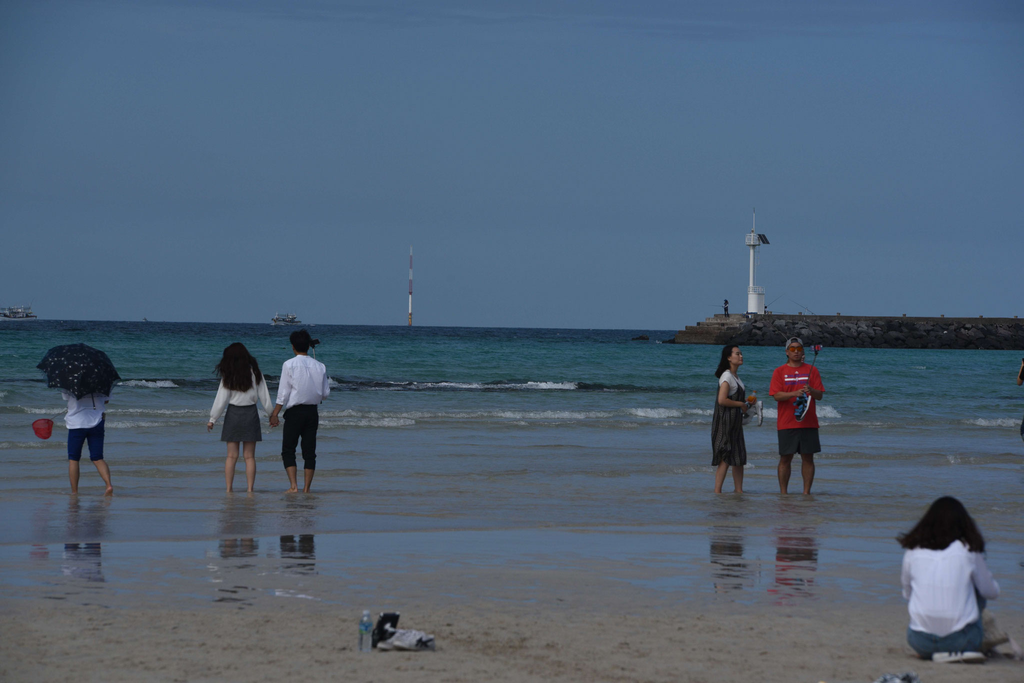 Flitterwochen führen auch an den Strand