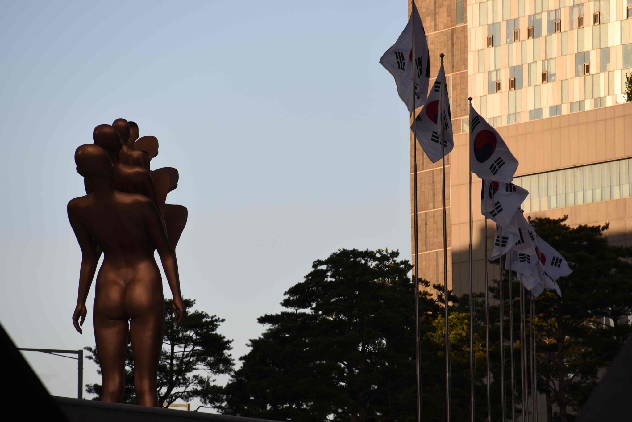 Südkoreanische Flaggenparade