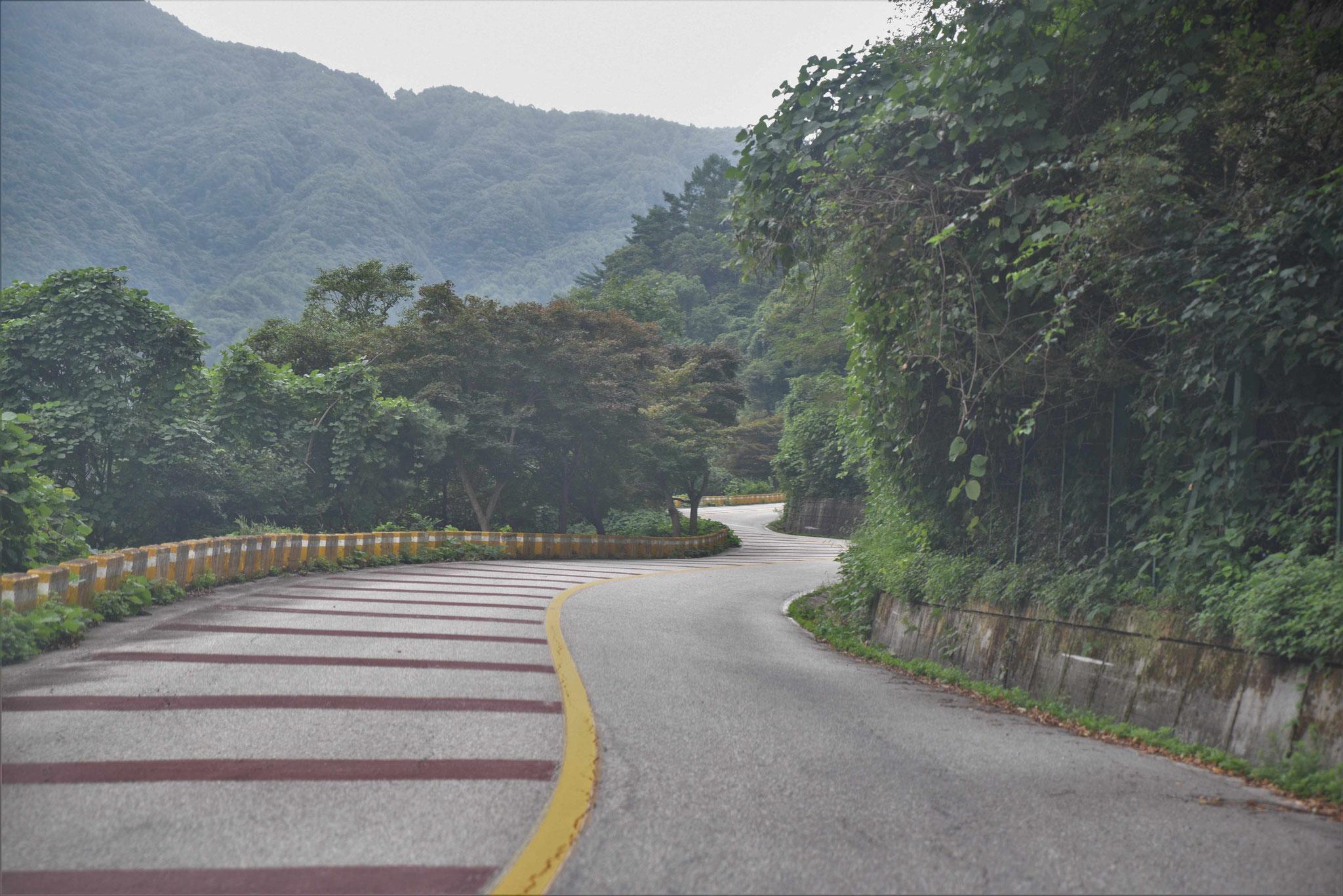 Die Talstrecke ist mit roten Querstreifen zum Entschleunigen