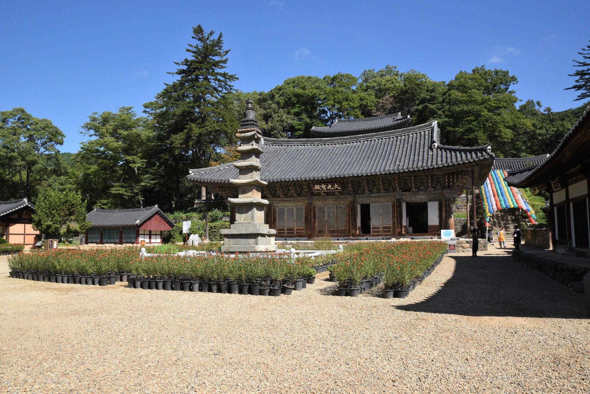 Grünanlage vor einem Tempel