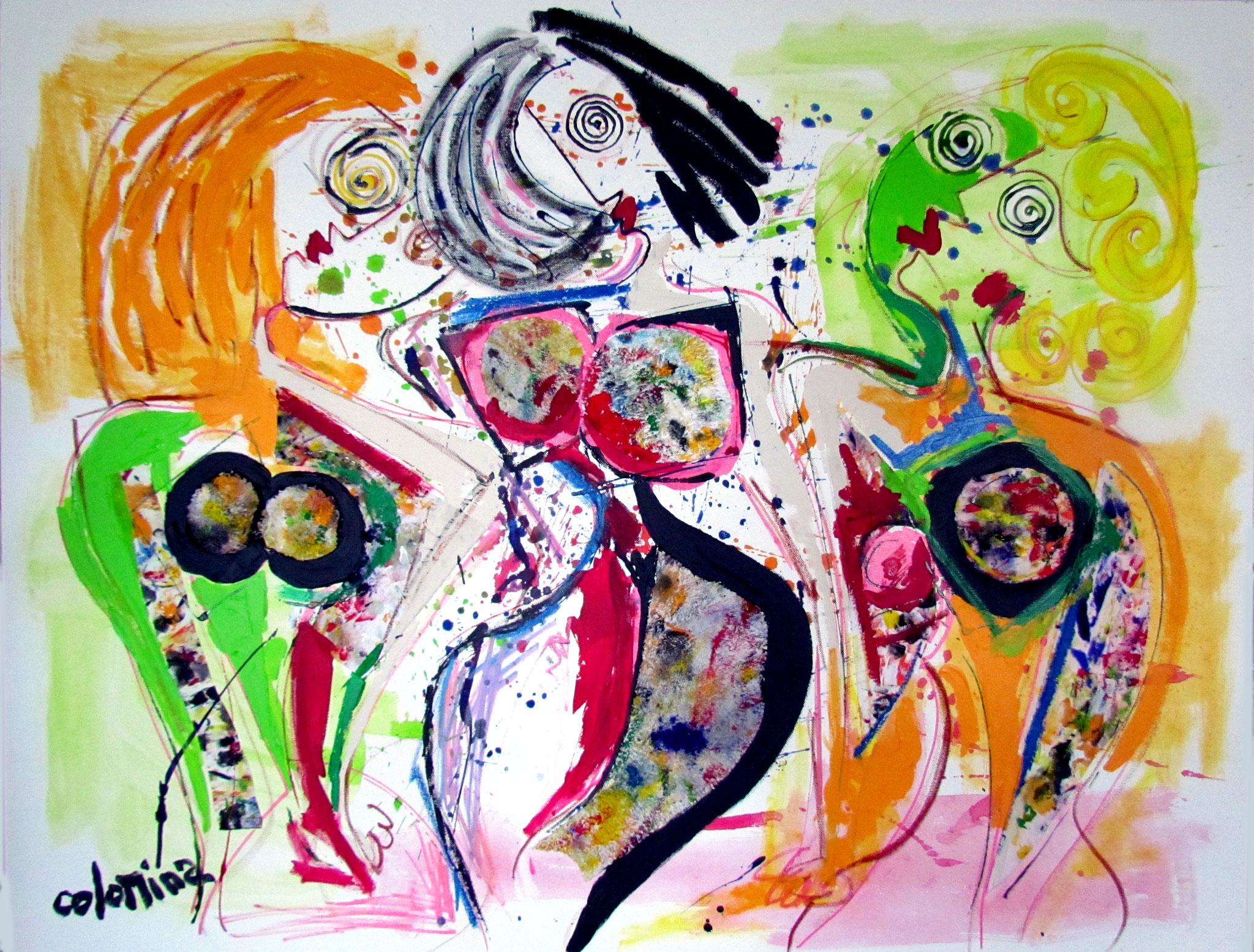 LES BAIGNEUSES - Dimensions : 116 x 89 cm