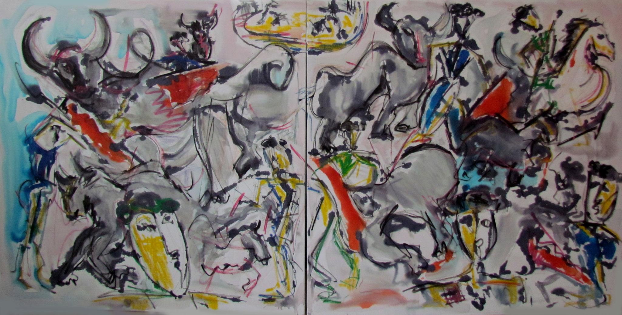 Scènes de tauromachie - 120x240 cm