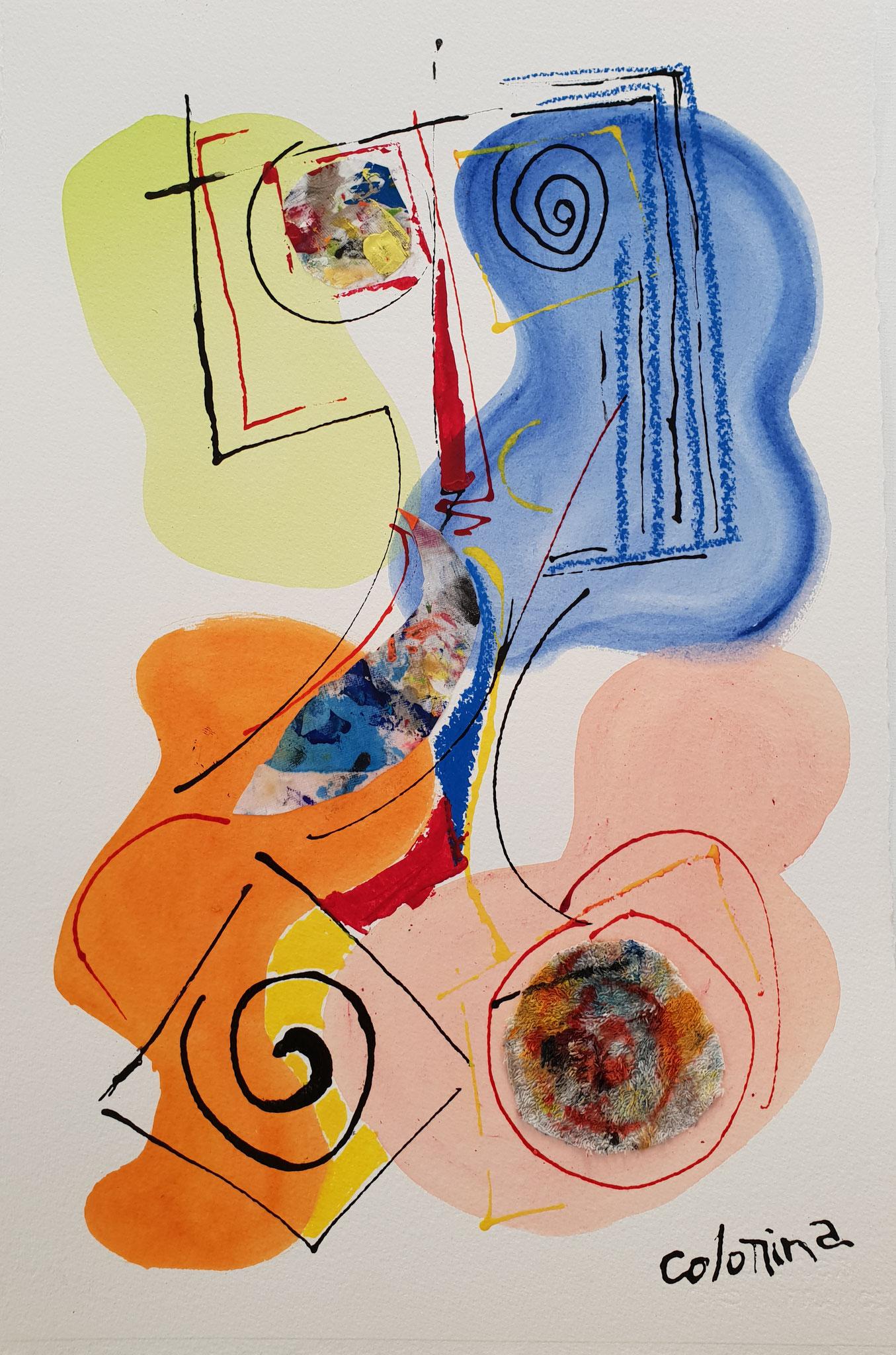 LES CHEVEUX BLEUS - Dimensions : 38 x 58 cm