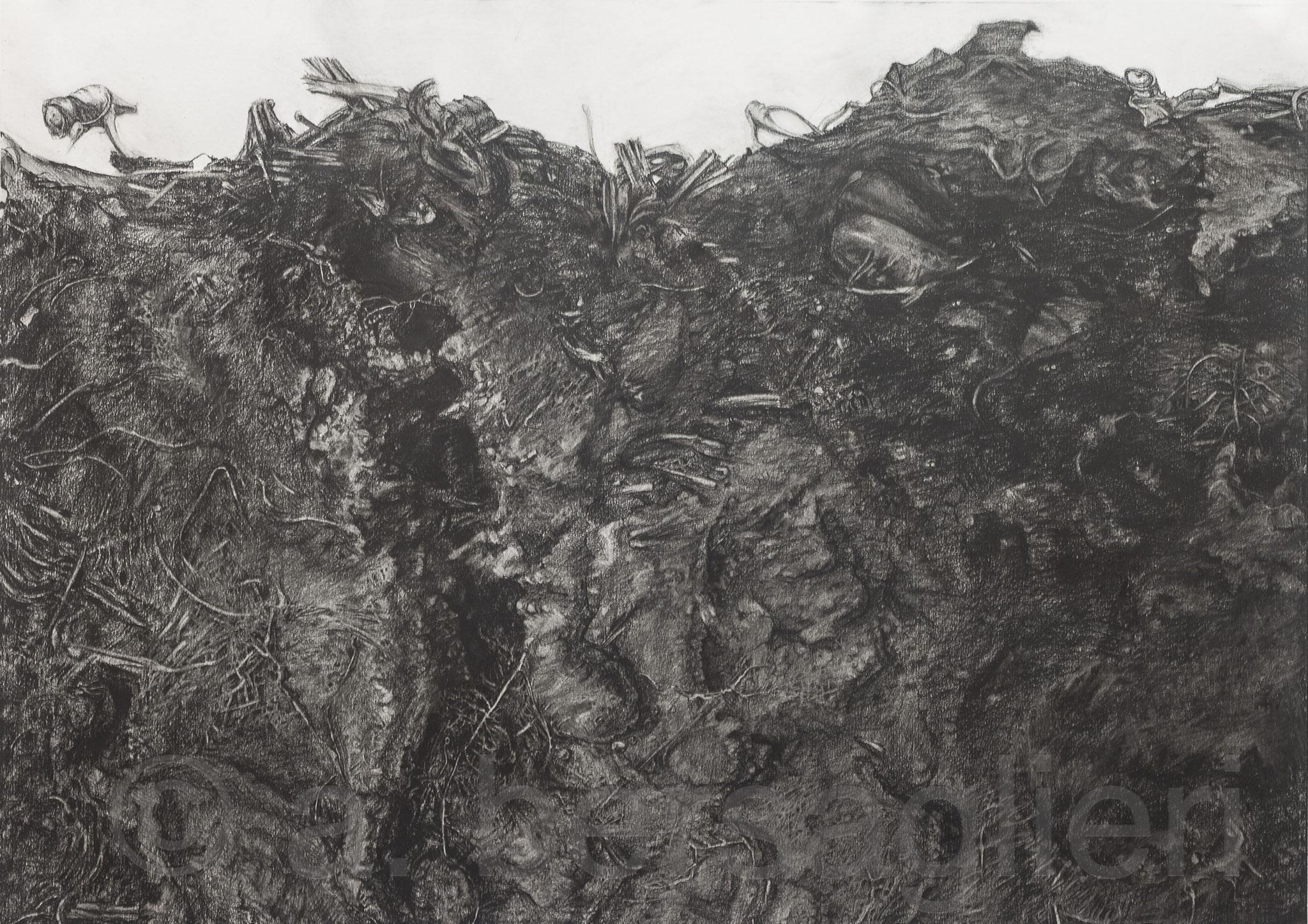 """Dirt II, Charcoal on Paper, 20"""" x 28"""" 2017"""