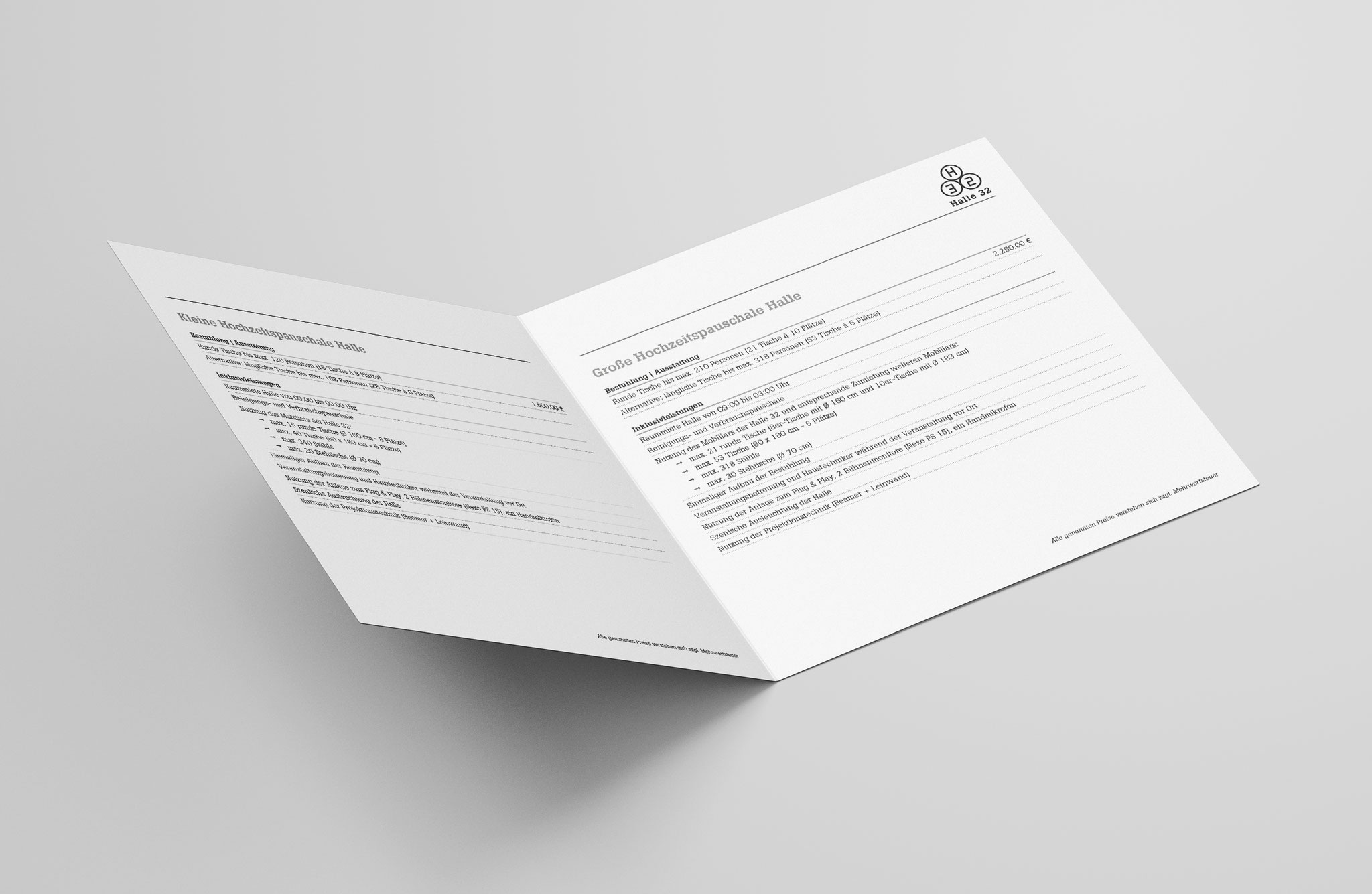Einleger mit Infos zu Hochzeiten und privaten Feiern