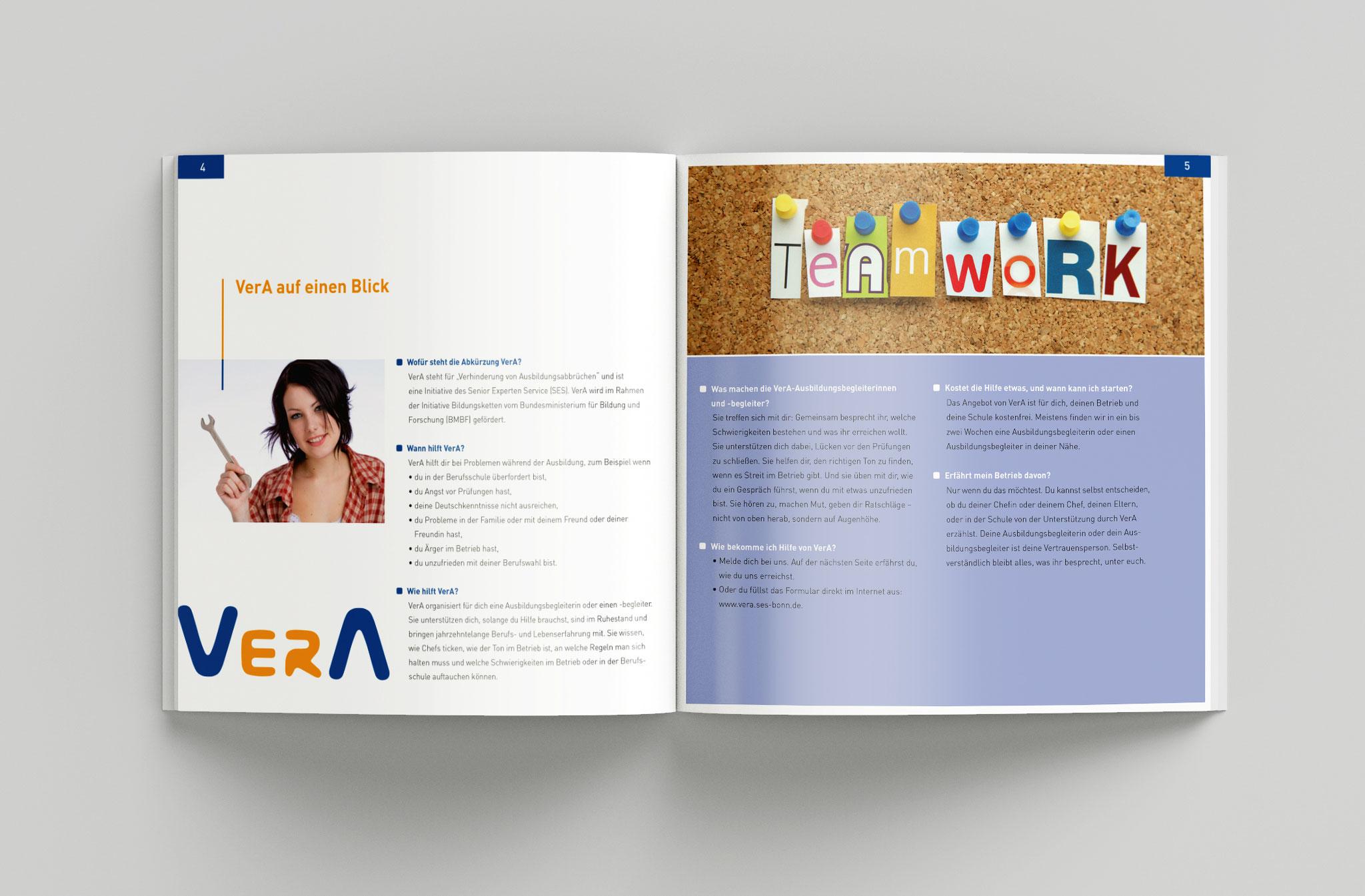Wendebroschüre VerA für Senior-Experten und Auszubildende, Doppelseite innen