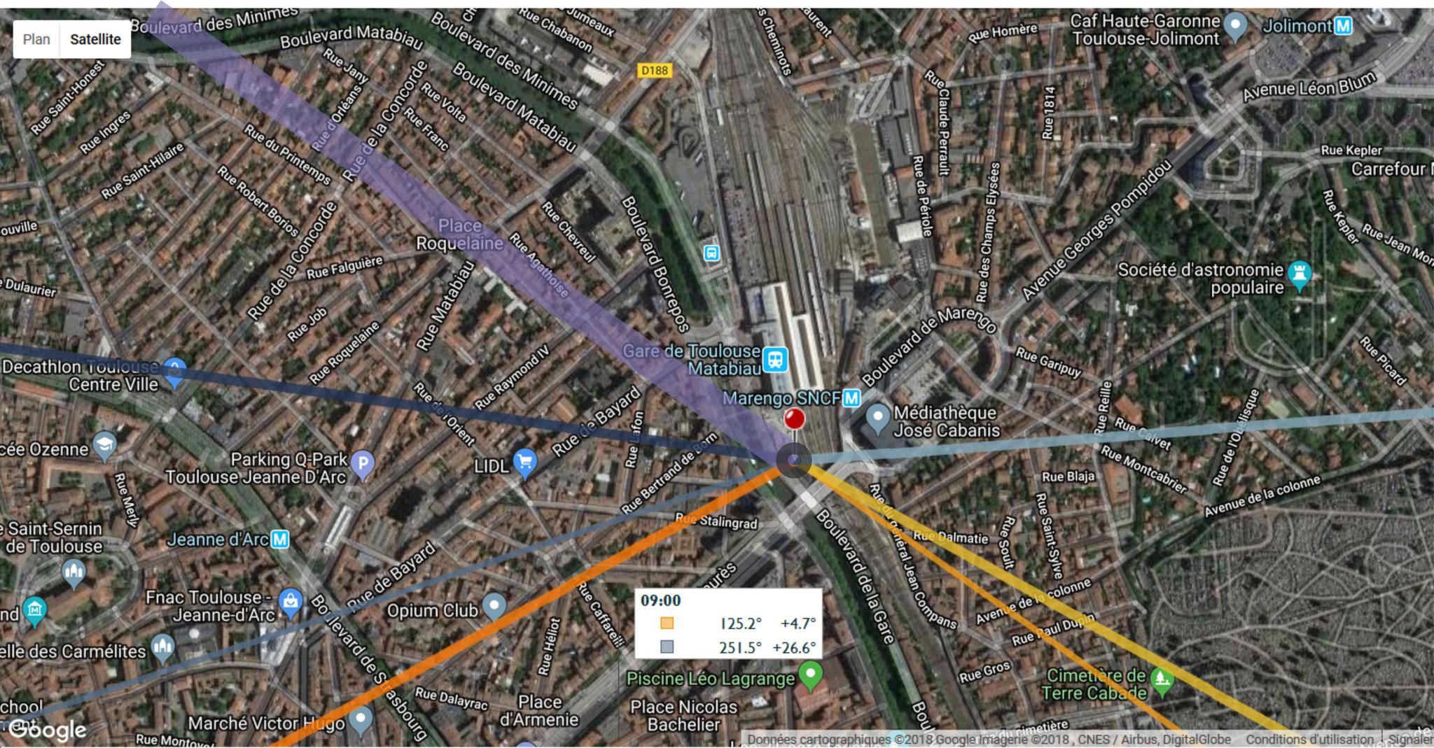 à 9h00, l'ombre, aussi large que la tour, devient plus consistante et sa longueur (1826m) sort des limites de la carte. Elle est passée sur la rue du Printemps et atteint Négreneys.
