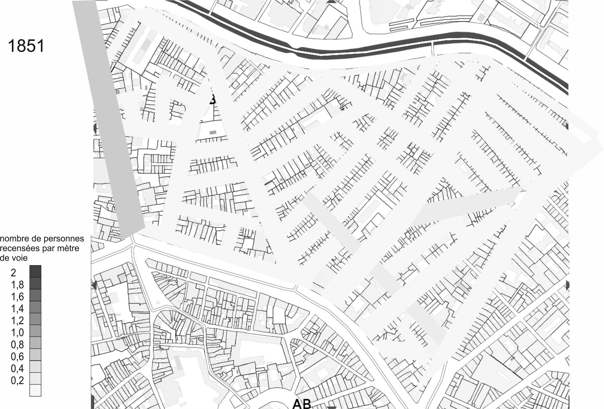 Coincé entre Canal et rempart, le quartier ne s'est peuplé qu'après la destruction de ceux-ci vers 1830