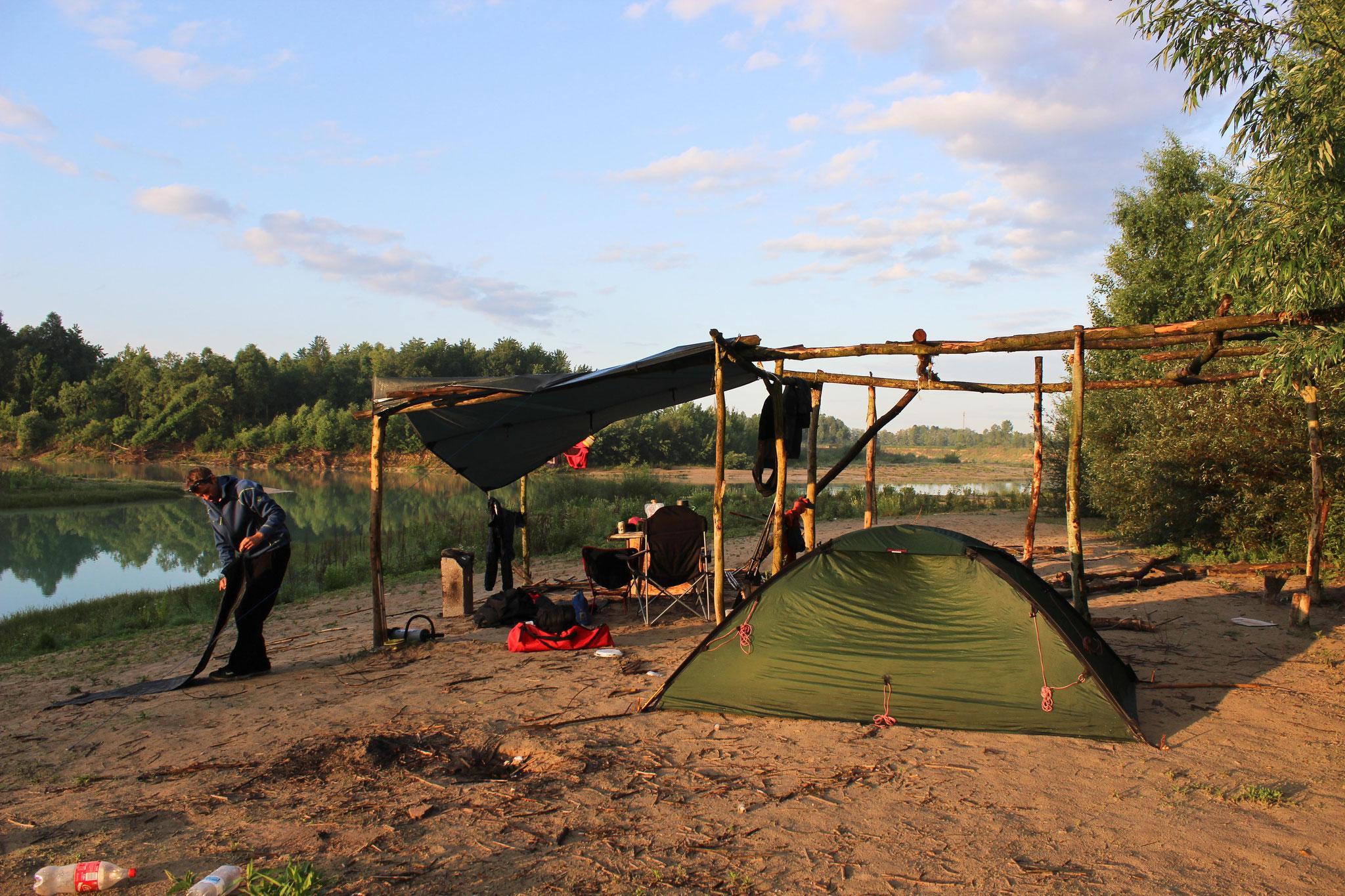 Camp am Unterlauf des Tagliamento