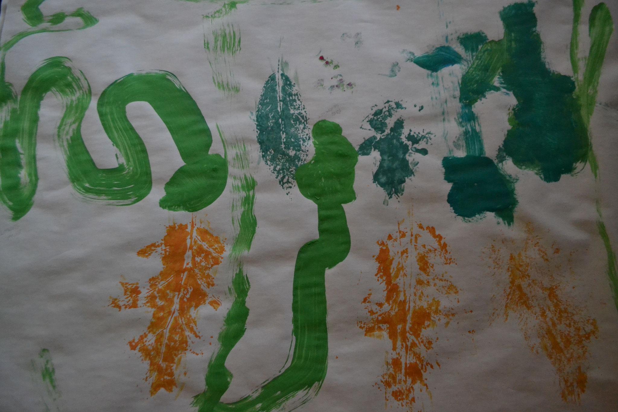Une famille de serpents verts