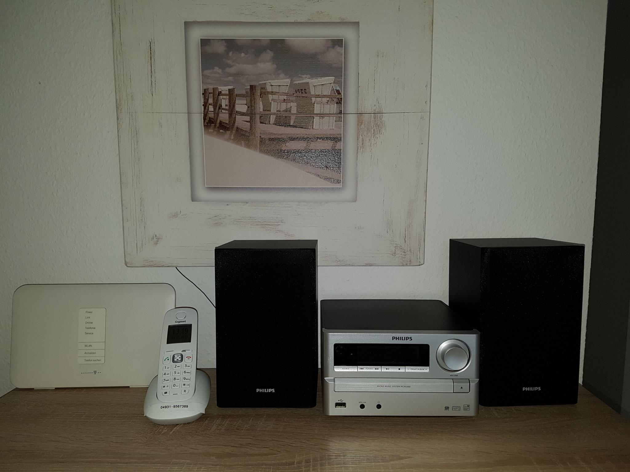 WLAN, Telefon (Inland Festnetzgespräche) kostenlos, Hifi-Anlage mit CD, mp3, Radio