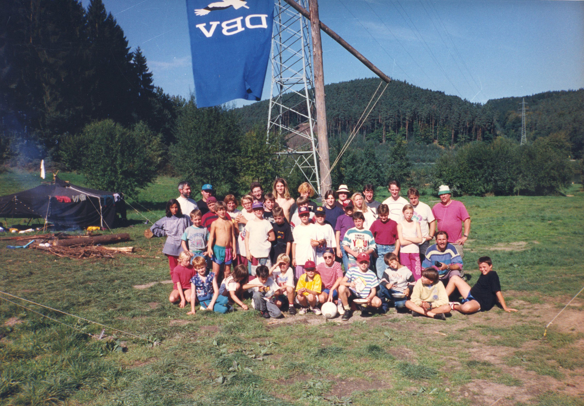 Herbstzeltlager 1994 am Marbacher Stausee im Odenwald.
