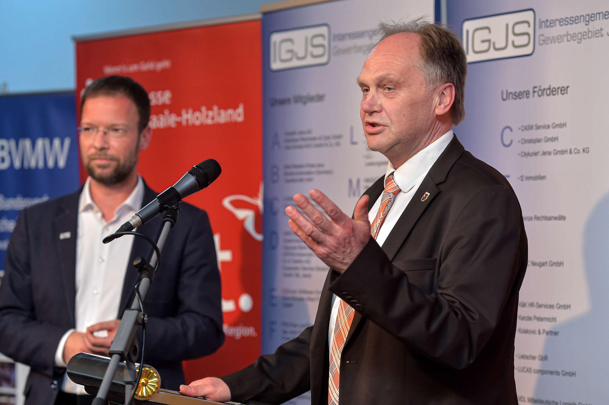 Andreas Heller, Landrat des Saale-Holzland-Kreises, bei seiner Ansprache