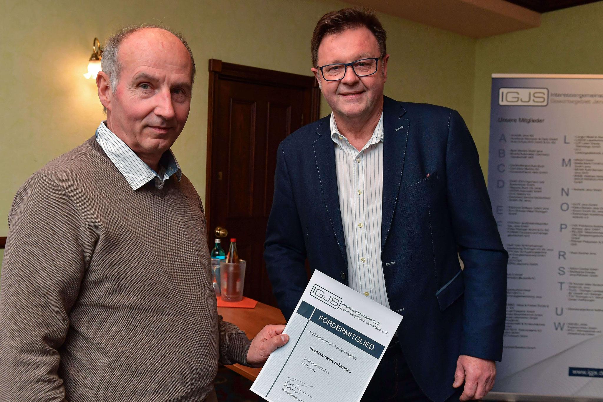 Frank Heuer begrüßt offiziell RA Johannes als neues Fördermitglied