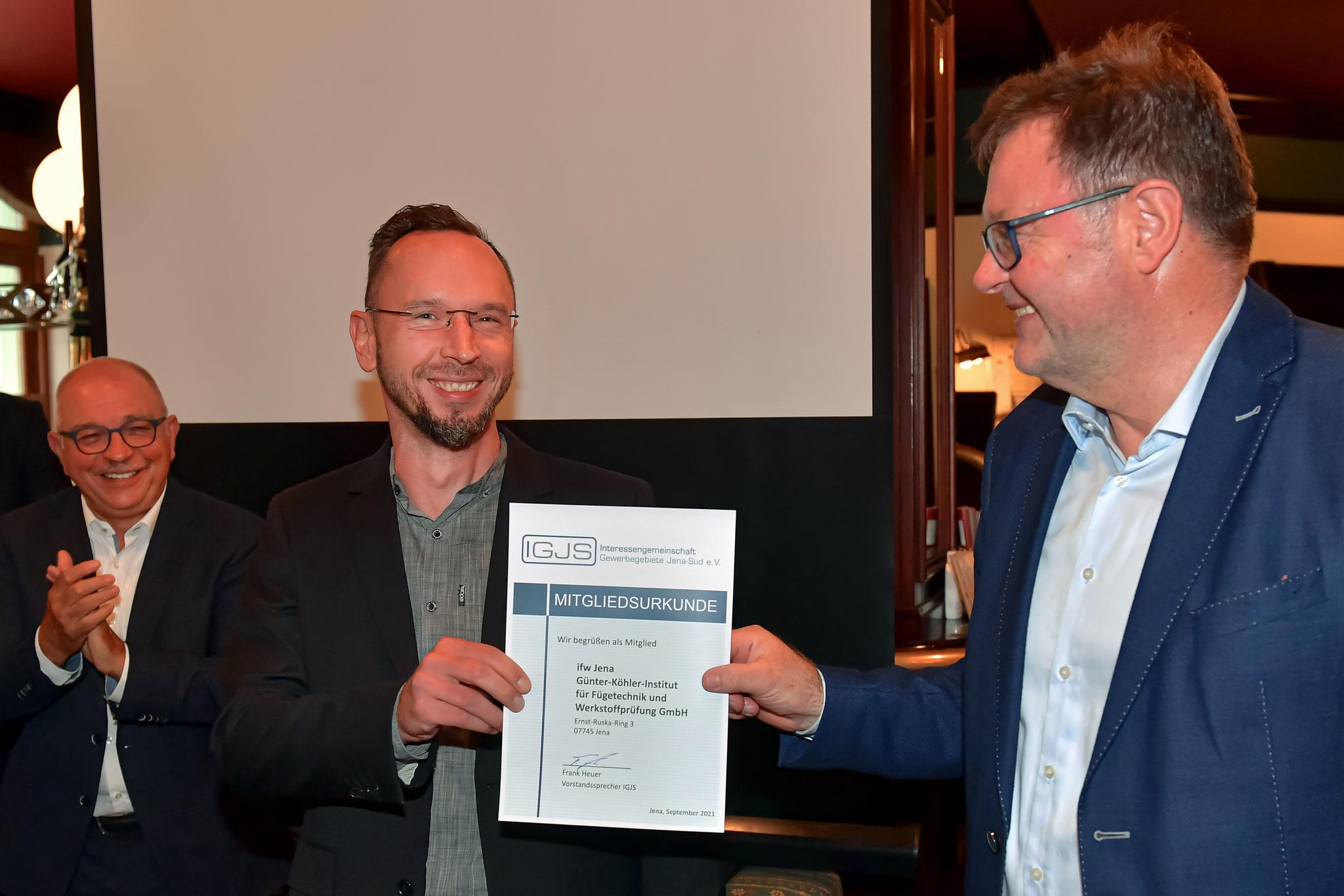 Herr Lange vom IFW wird als neues Mitglied begrüßt