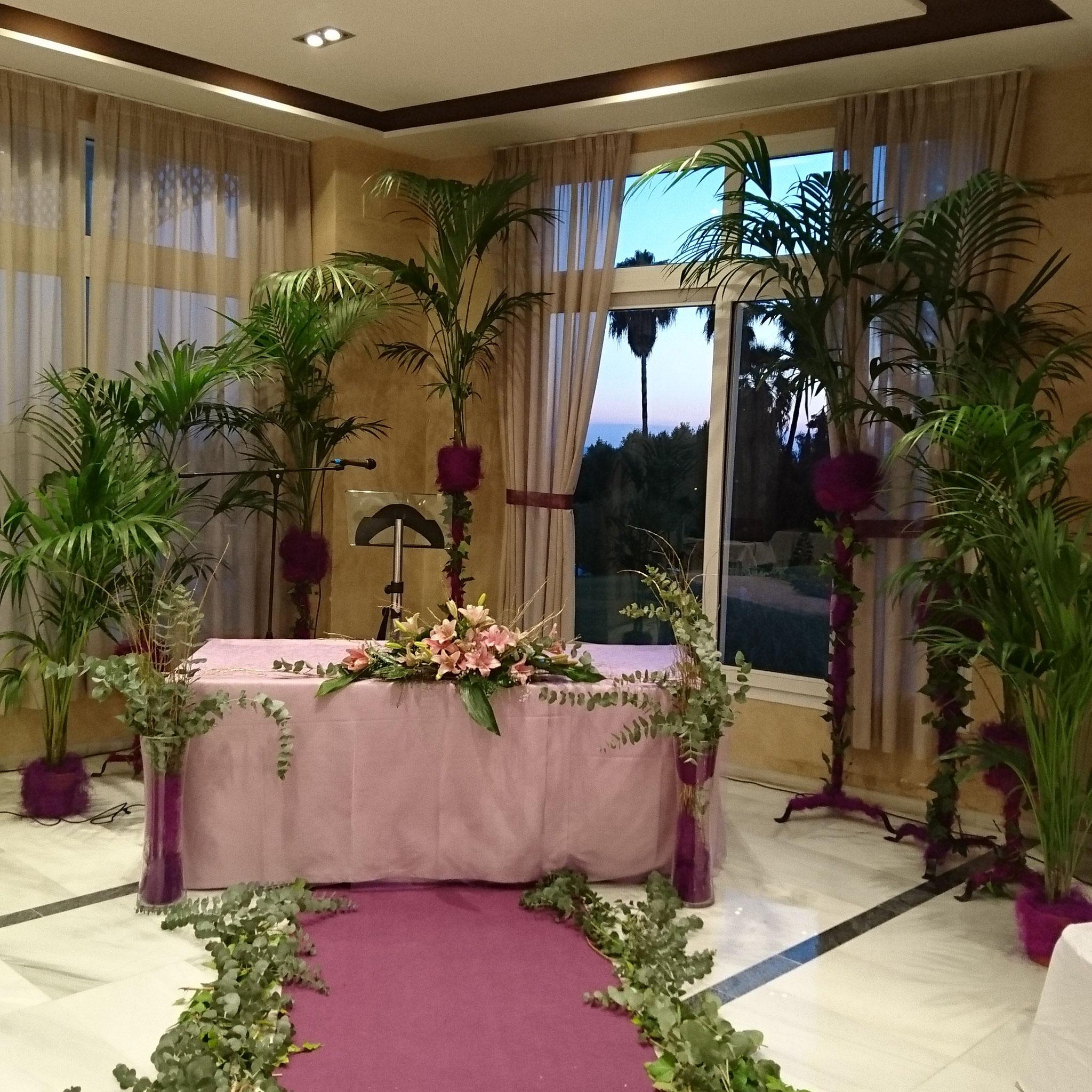 Decoración Salón Hotel Las Adelfas boda civil