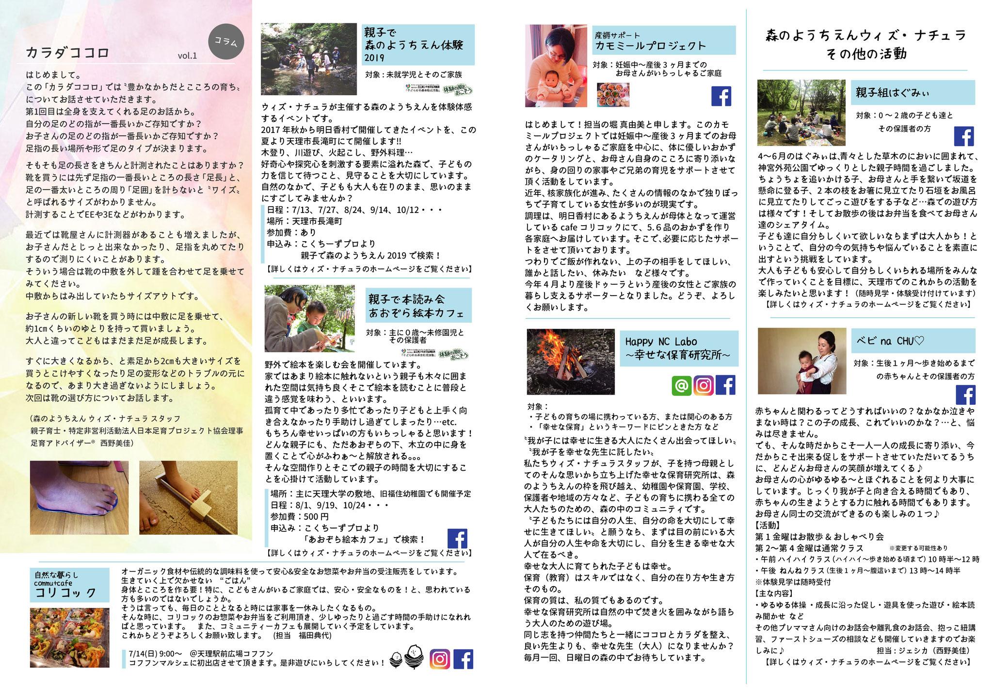 6~7ページ(森のようちえんウィズ・ナチュラ その他の活動、コラム「カラダココロvol.1」)