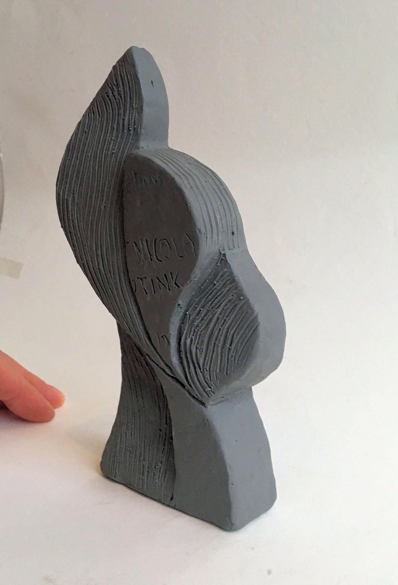 het door mij gemaakte model in klei