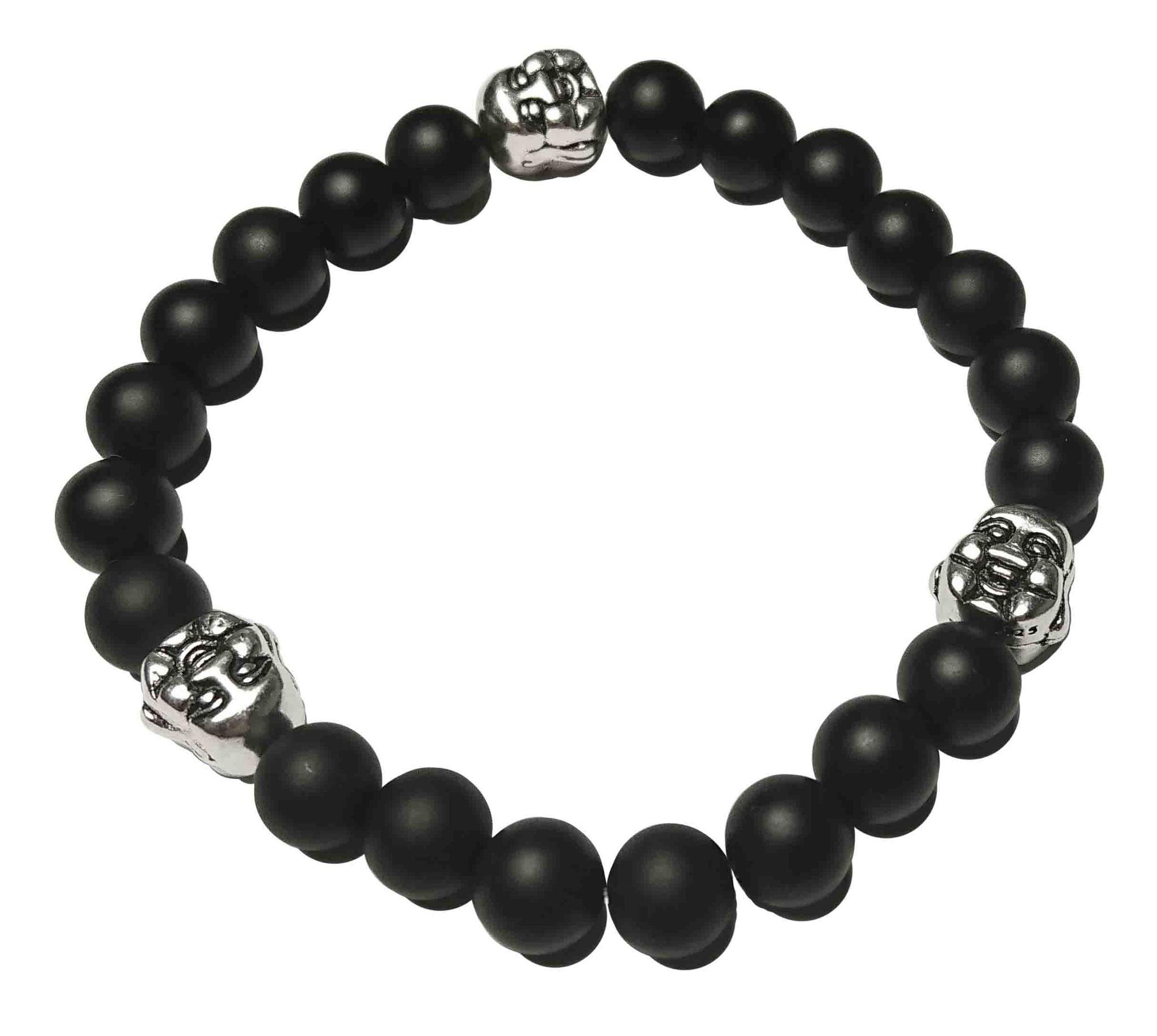 BEHERO Herren - Armband Happy Buddha (Onyx matt)