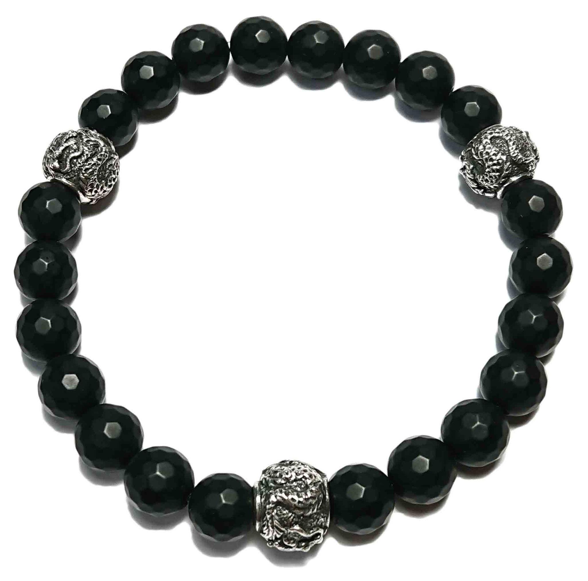 Shenlong (matt schwarz facet.) Armband