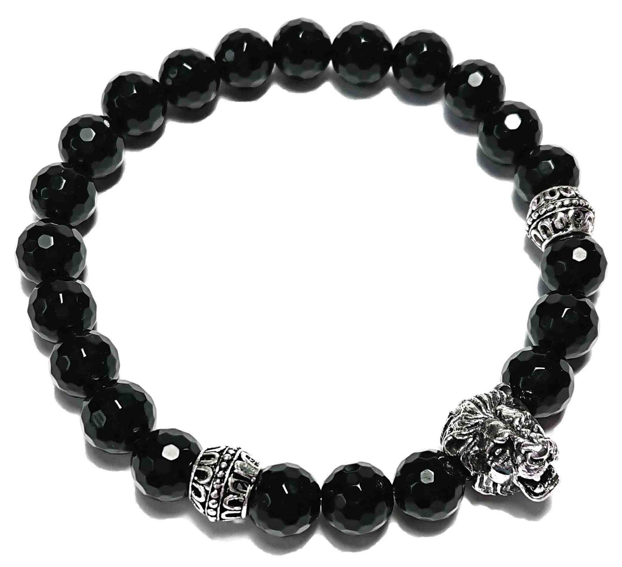 Lion (schwarz facet.) Armband