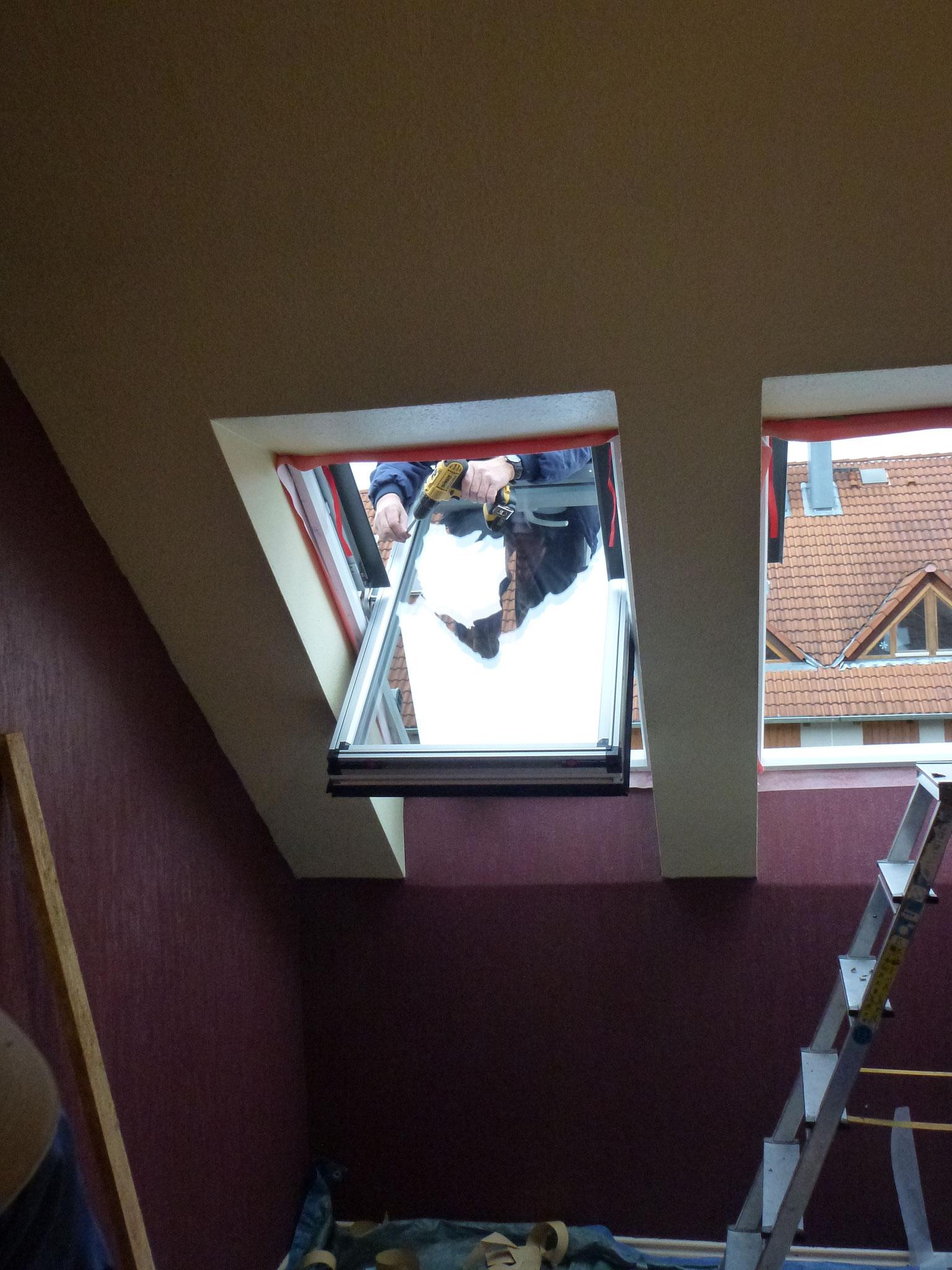 Einsetzen des Fensterflügels