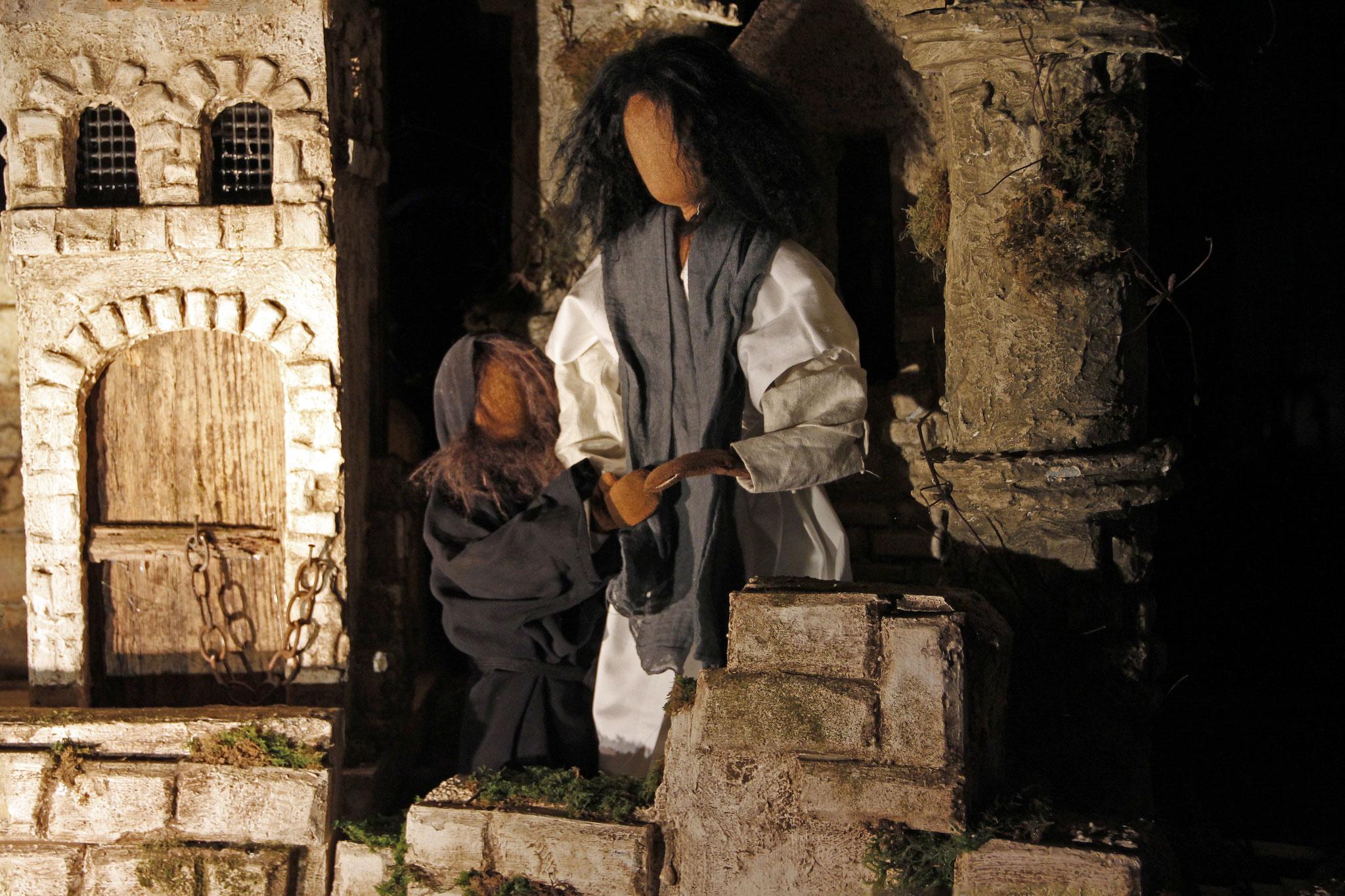 Darauf nahm in der Teufel mit sich in die Heilige Stadt, stellte ihn oben auf den Tempel und sagte zu ihm: Wenn du Gottes Sohn bist, so stürz dich hinab; denn es heisst in der Schrift: Senen Engeln befiehlt er, dich auf ihren Händen zu tragen, damit ...
