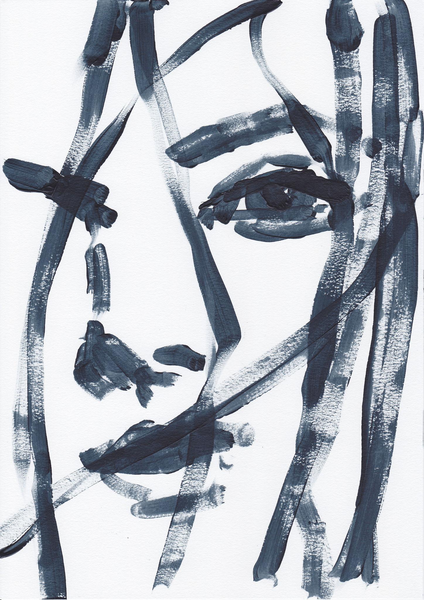 067 , acrylic on paper , 29.7 x 21cm , Selina Saranova