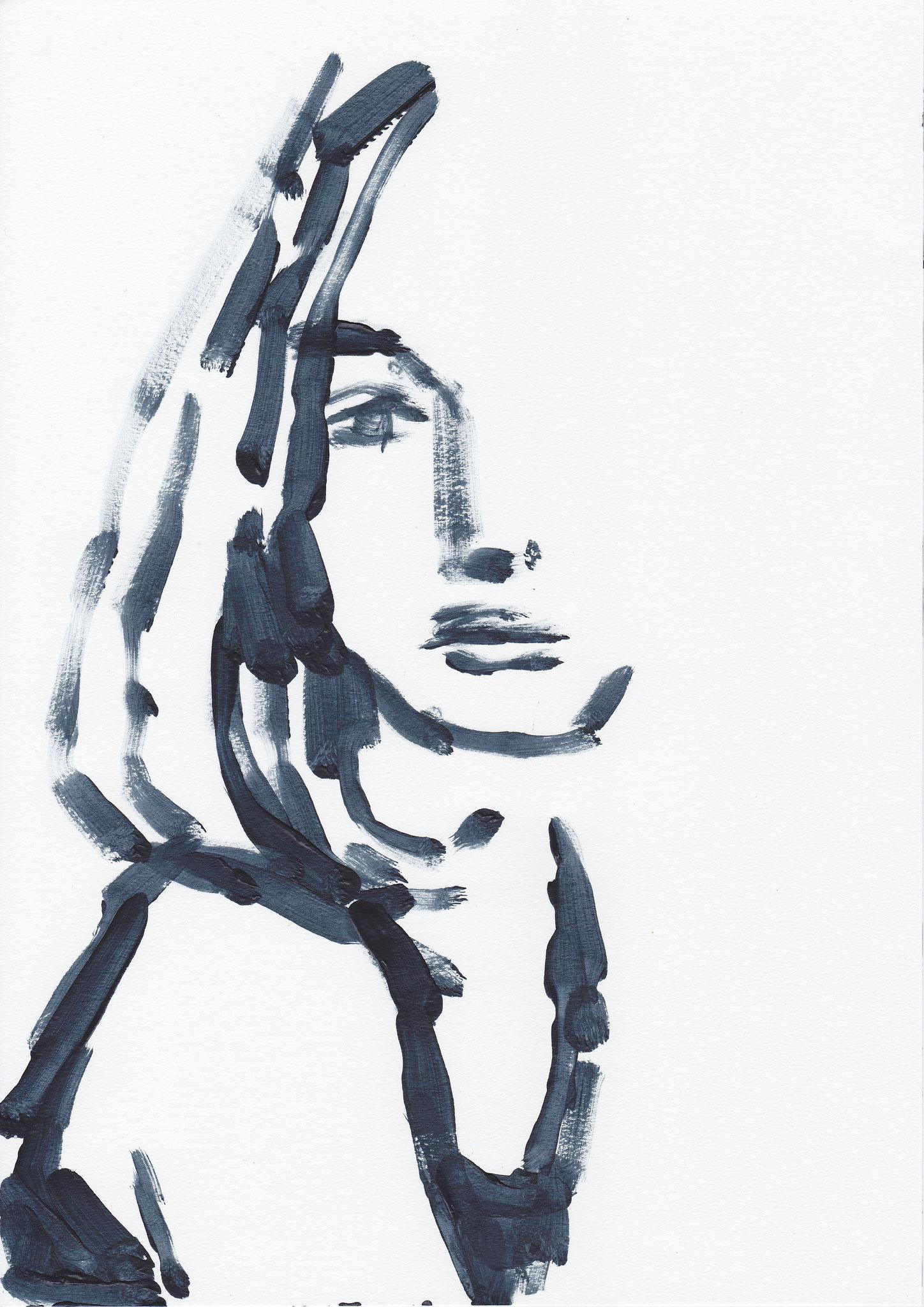 022 , acrylic on paper , 29.7 x 21cm , Selina Saranova