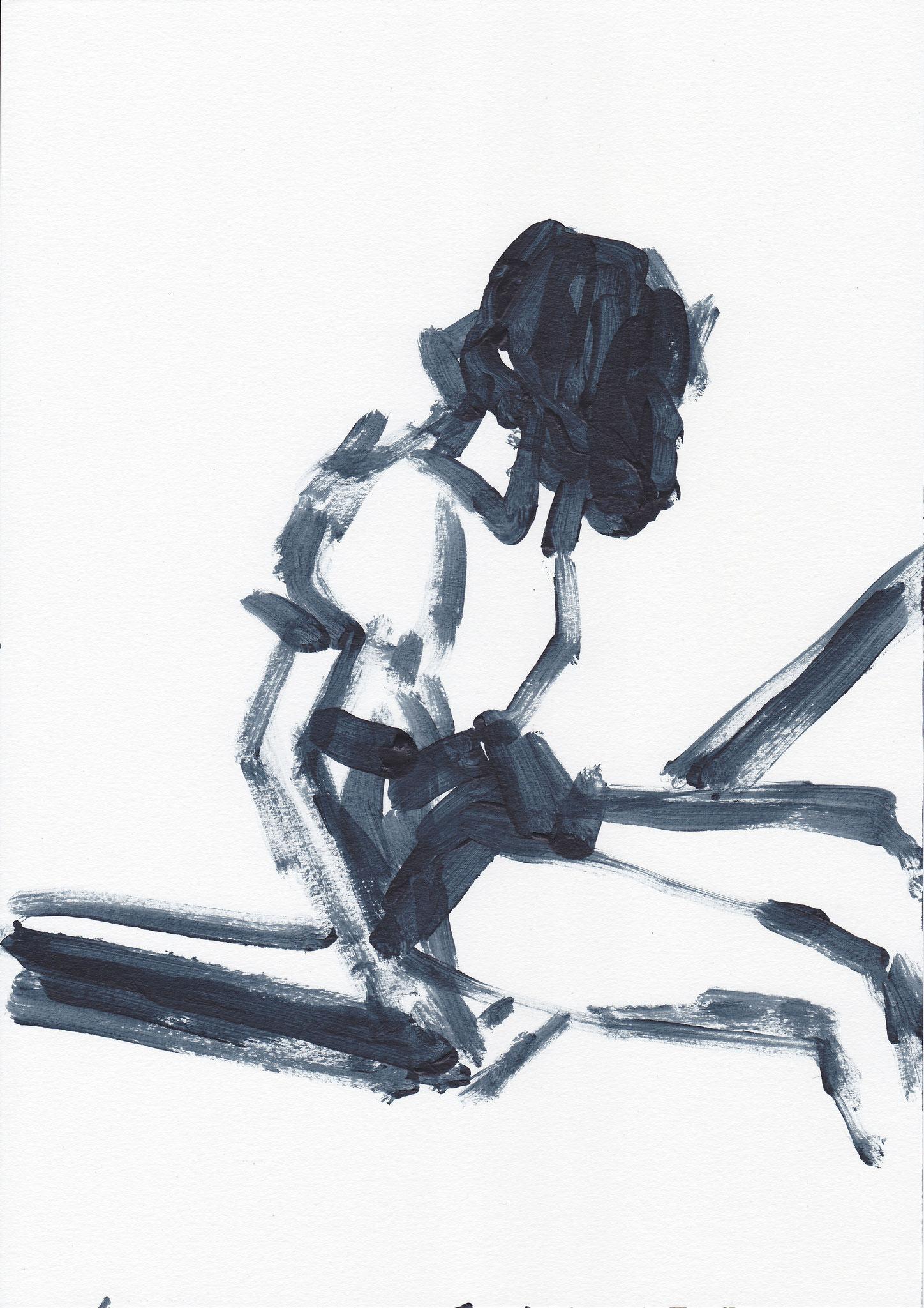 007 ,acrylic on paper , 29.7 x 21cm , Selina Saranova