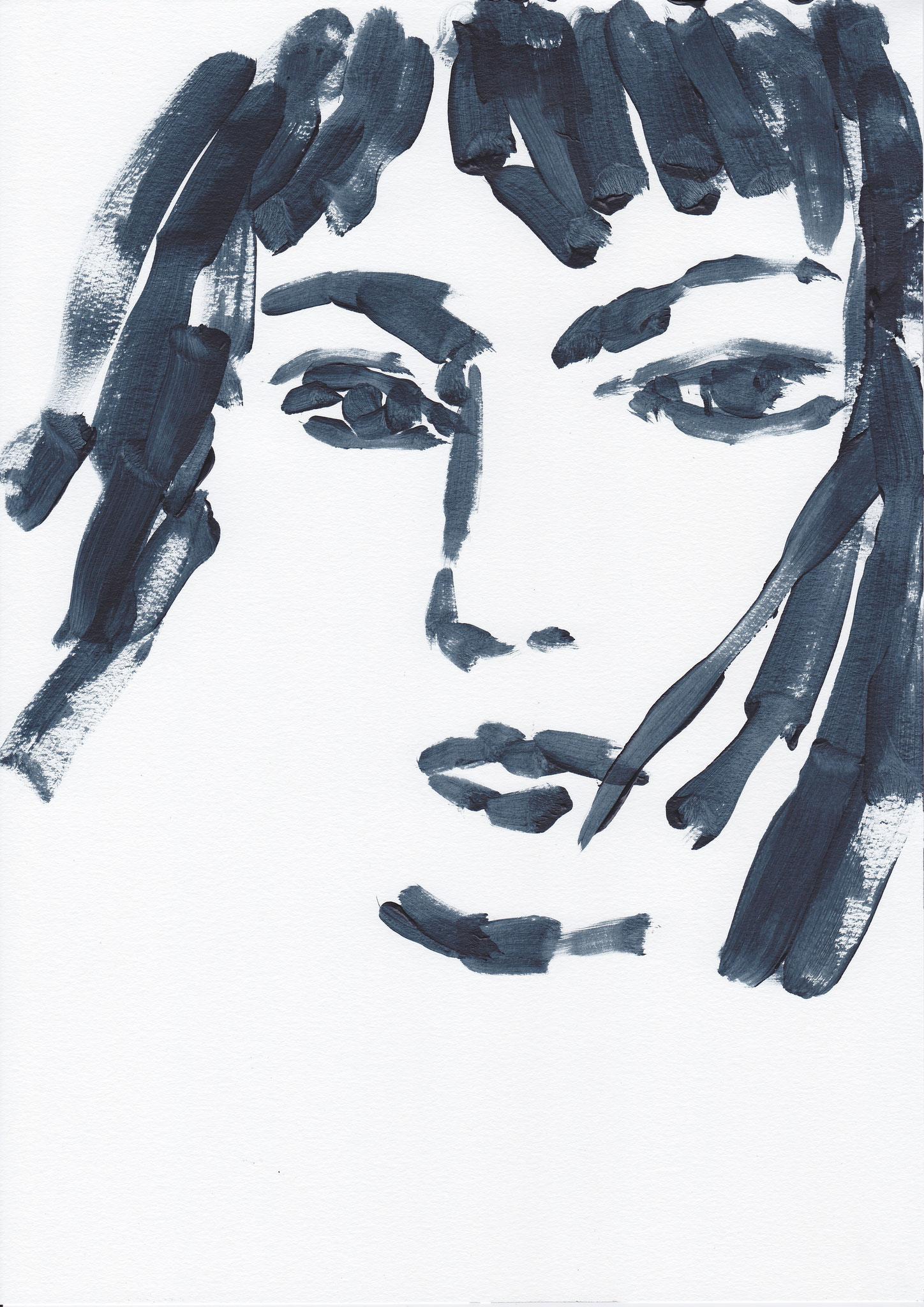 051 , acrylic on paper , 29.7 x 21cm , Selina Saranova