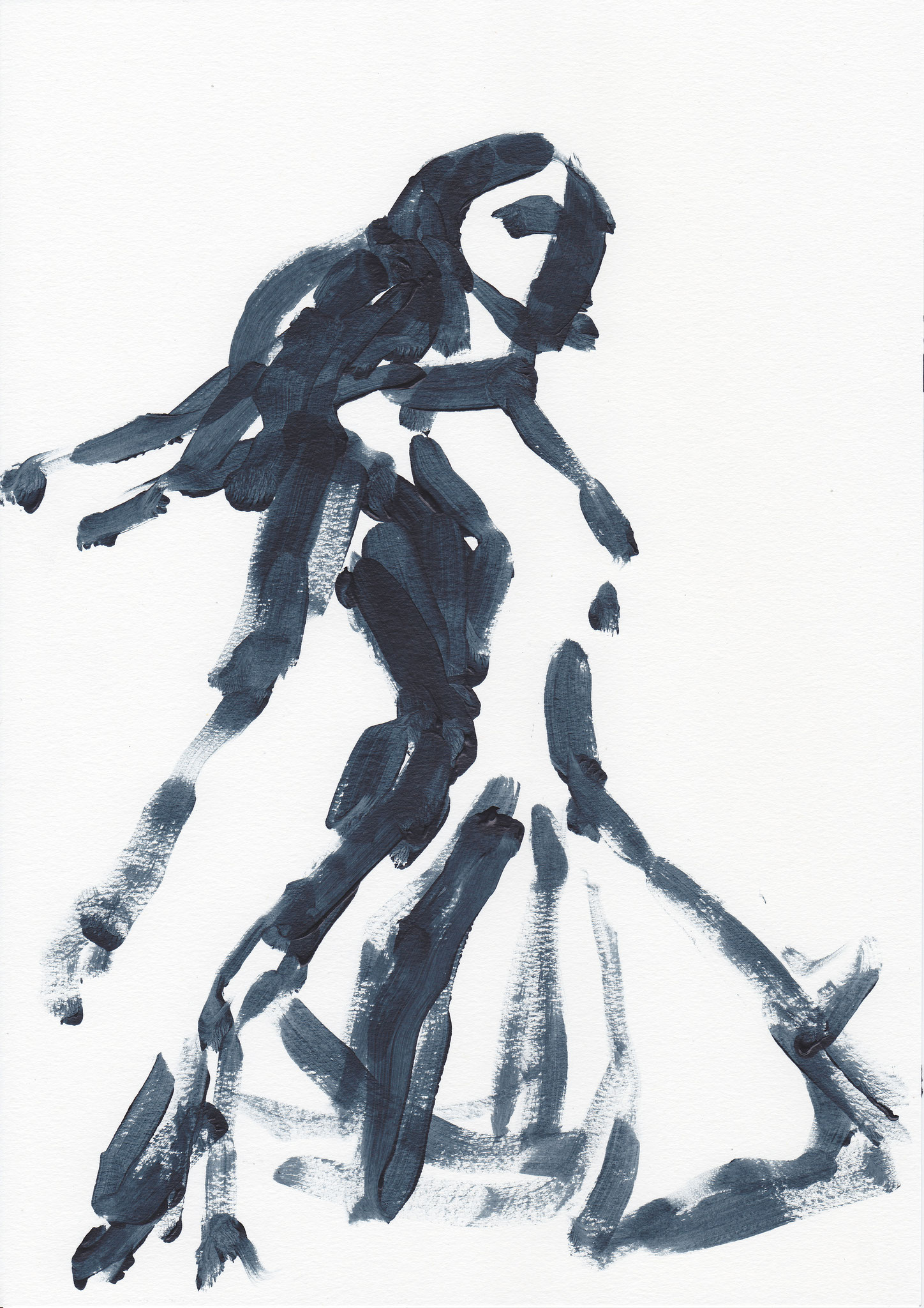 071 , acrylic on paper , 29.7 x 21cm , Selina Saranova