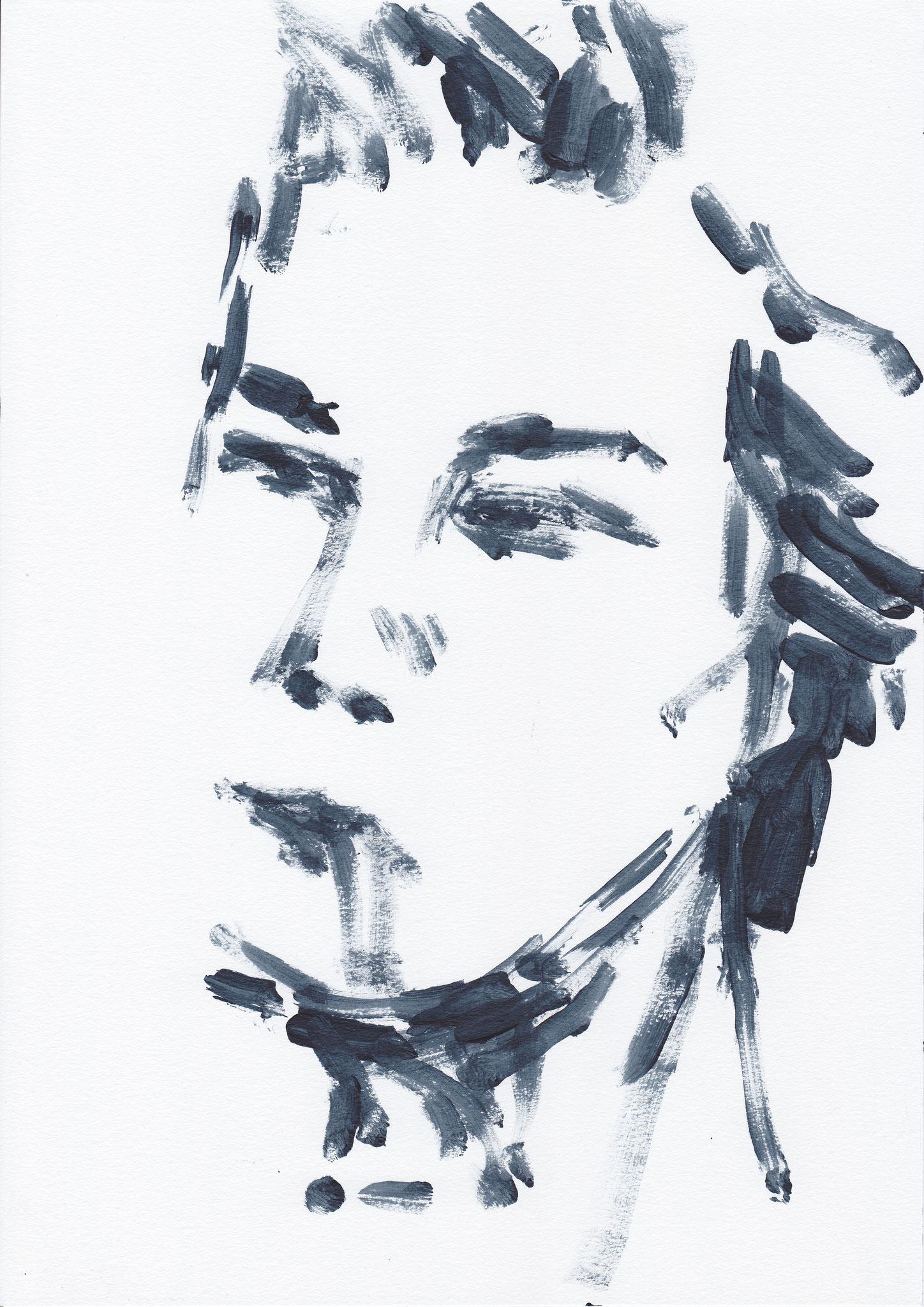 061 , acrylic on paper , 29.7 x 21cm , Selina Saranova