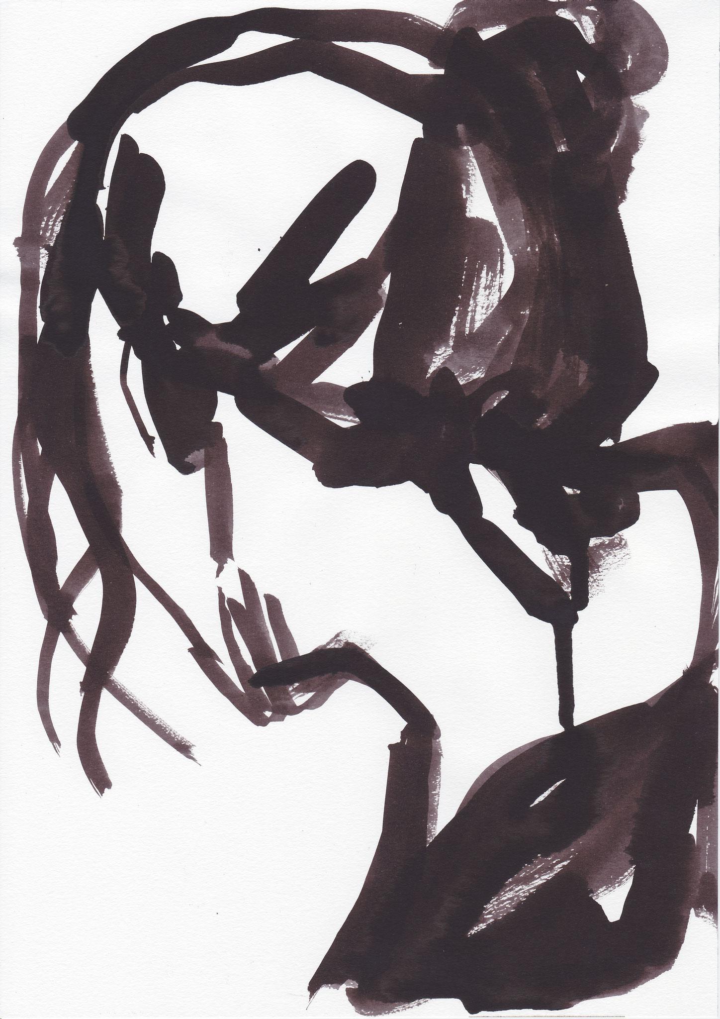 077 , inc on paper , 29.7 x 21cm , Selina Saranova