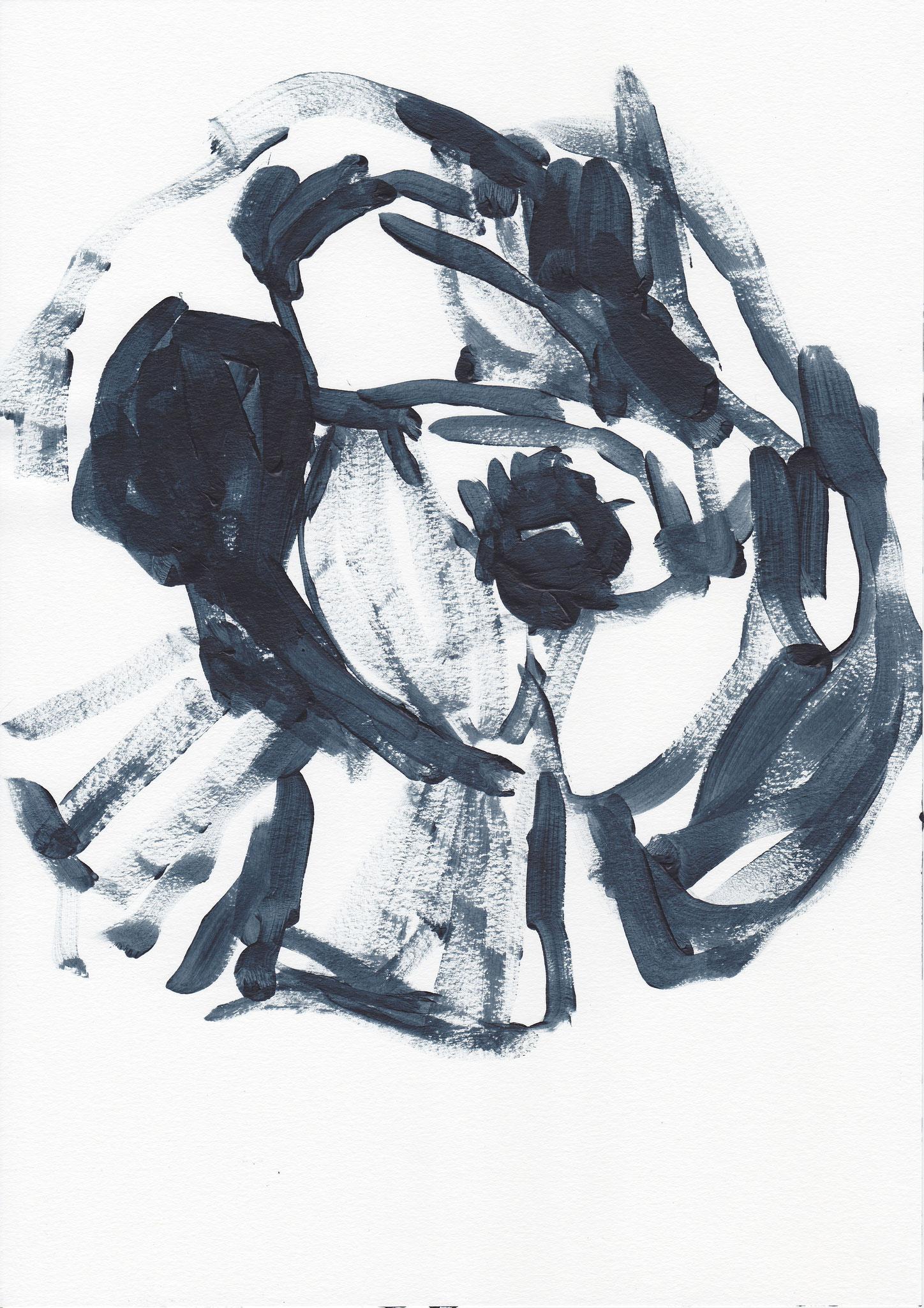 072 , acrylic on paper , 29.7 x 21cm , Selina Saranova