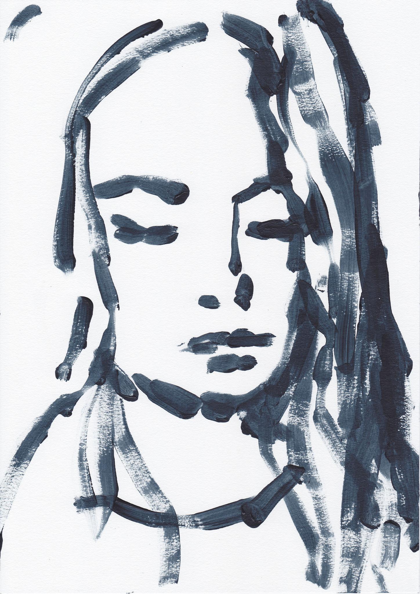 042 , acrylic on paper , 29.7 x 21cm , Selina Saranova