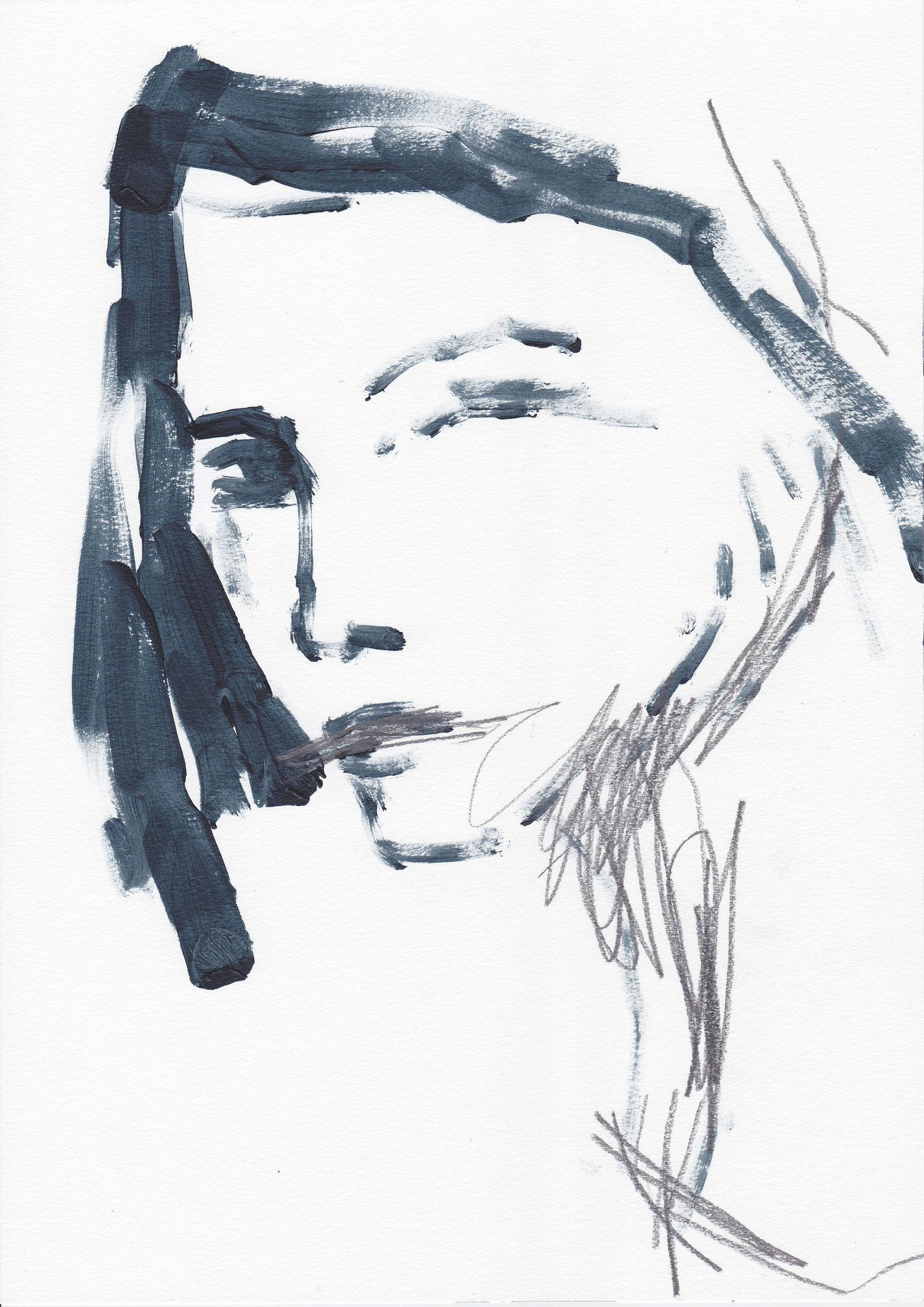 083 , acrylic on paper , 29.7 x 21cm , Selina Saranova