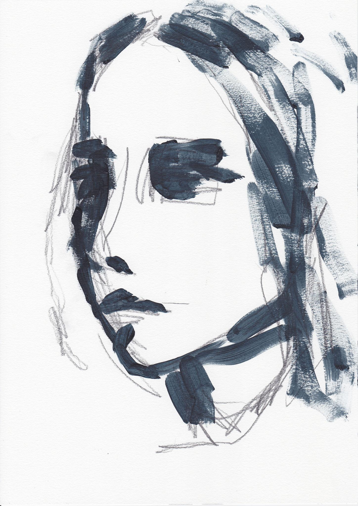 076 , acrylic on paper , 29.7 x 21cm , Selina Saranova