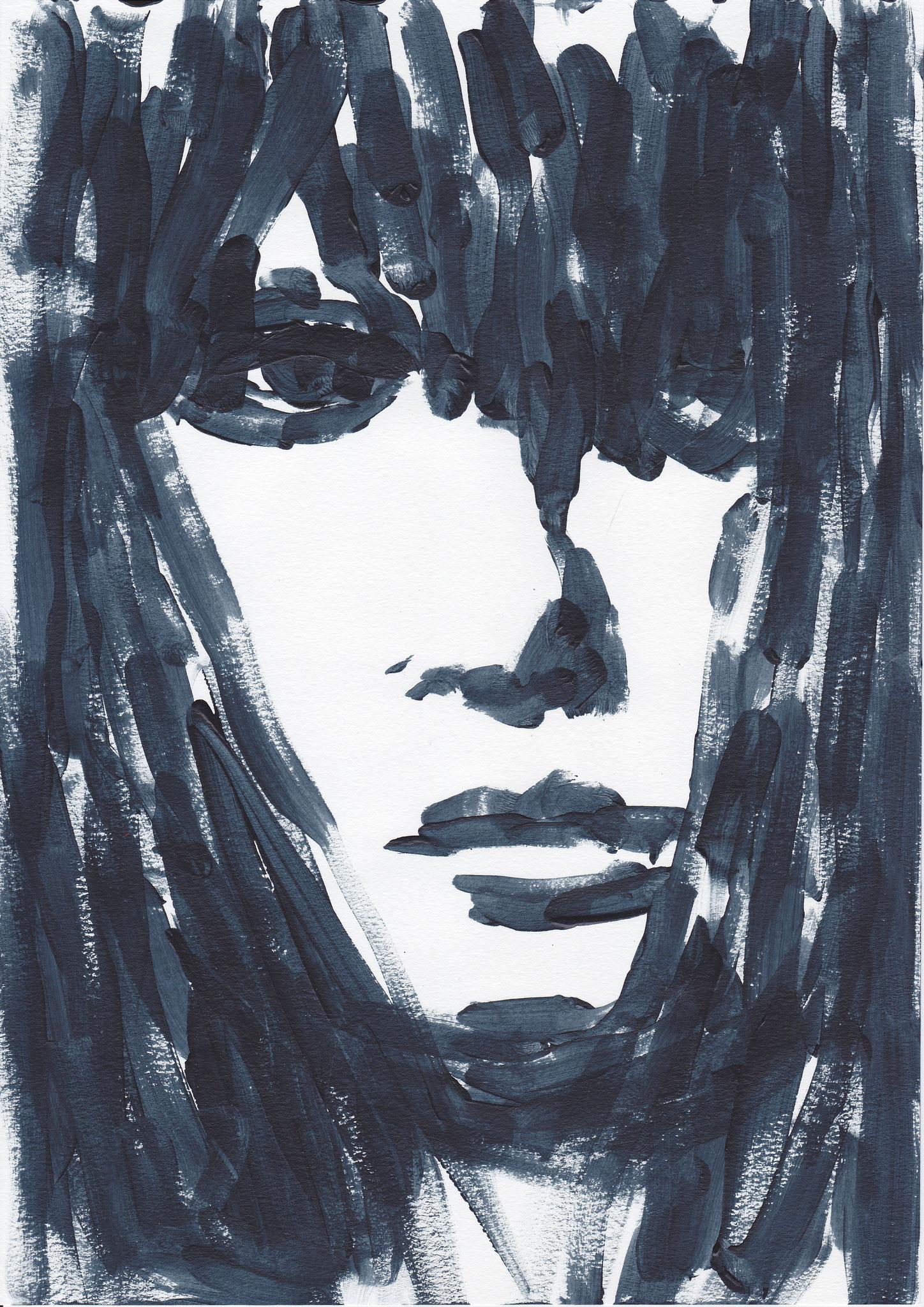 011 , acrylic on paper , 29.7 x 21cm , Selina Saranova