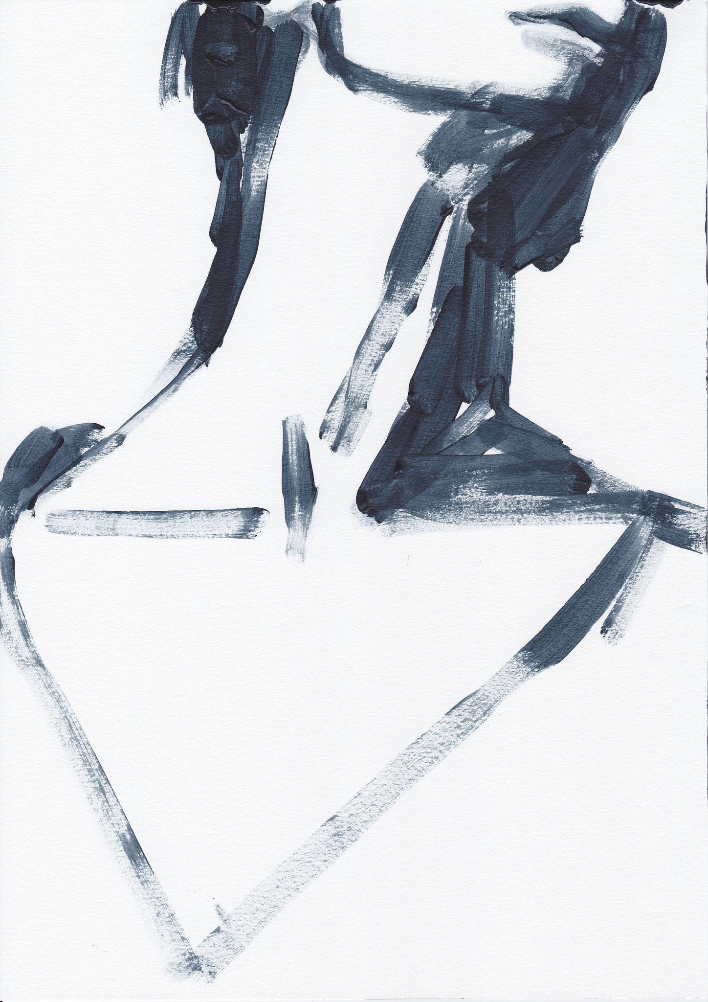 052 , acrylic on paper , 29.7 x 21cm , Selina Saranova