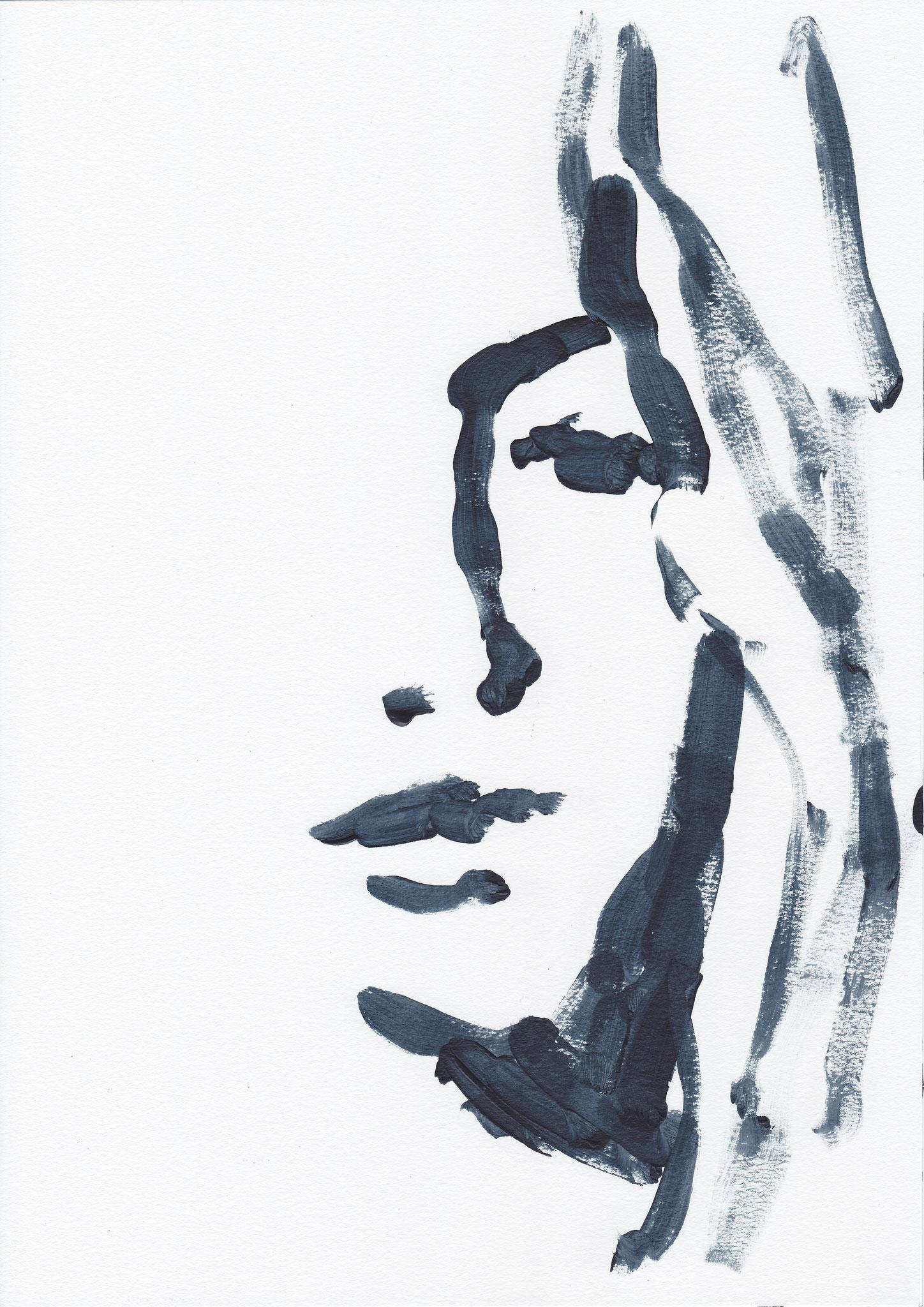 039 , acrylic on paper , 29.7 x 21cm , Selina Saranova