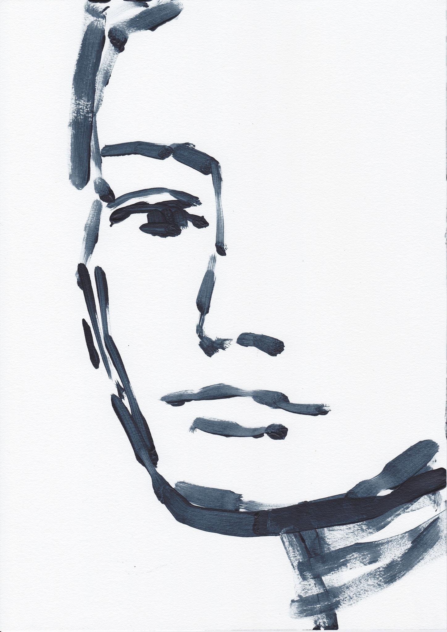 053 , acrylic on paper , 29.7 x 21cm , Selina Saranova