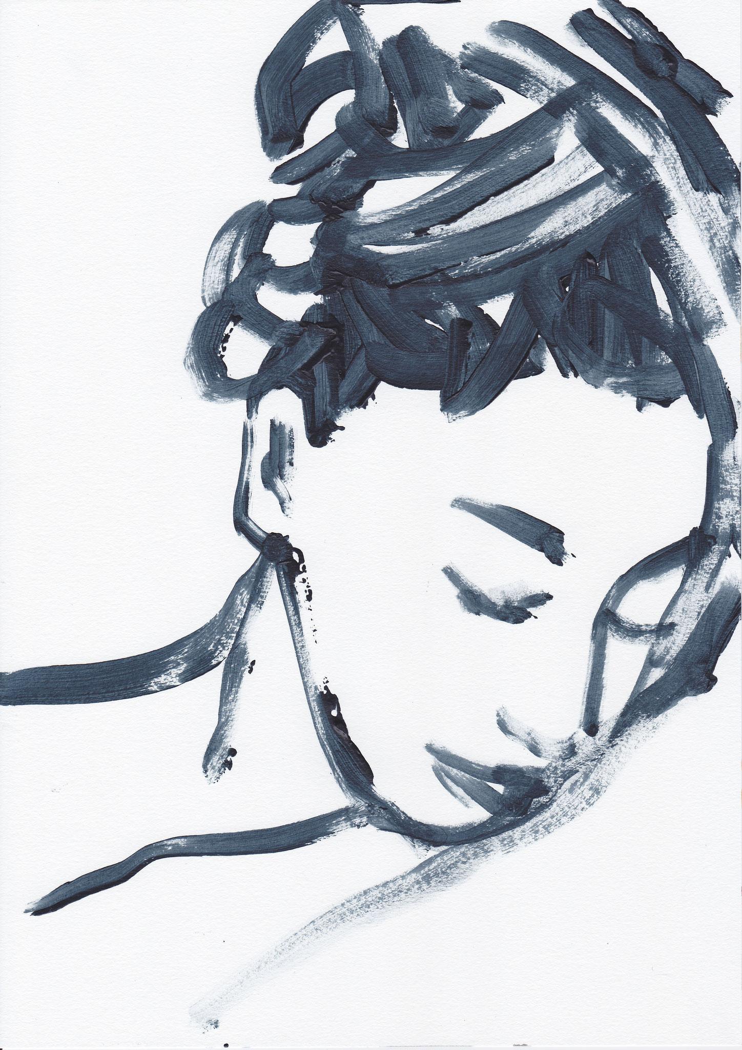 057 , acrylic on paper , 29.7 x 21cm , Selina Saranova