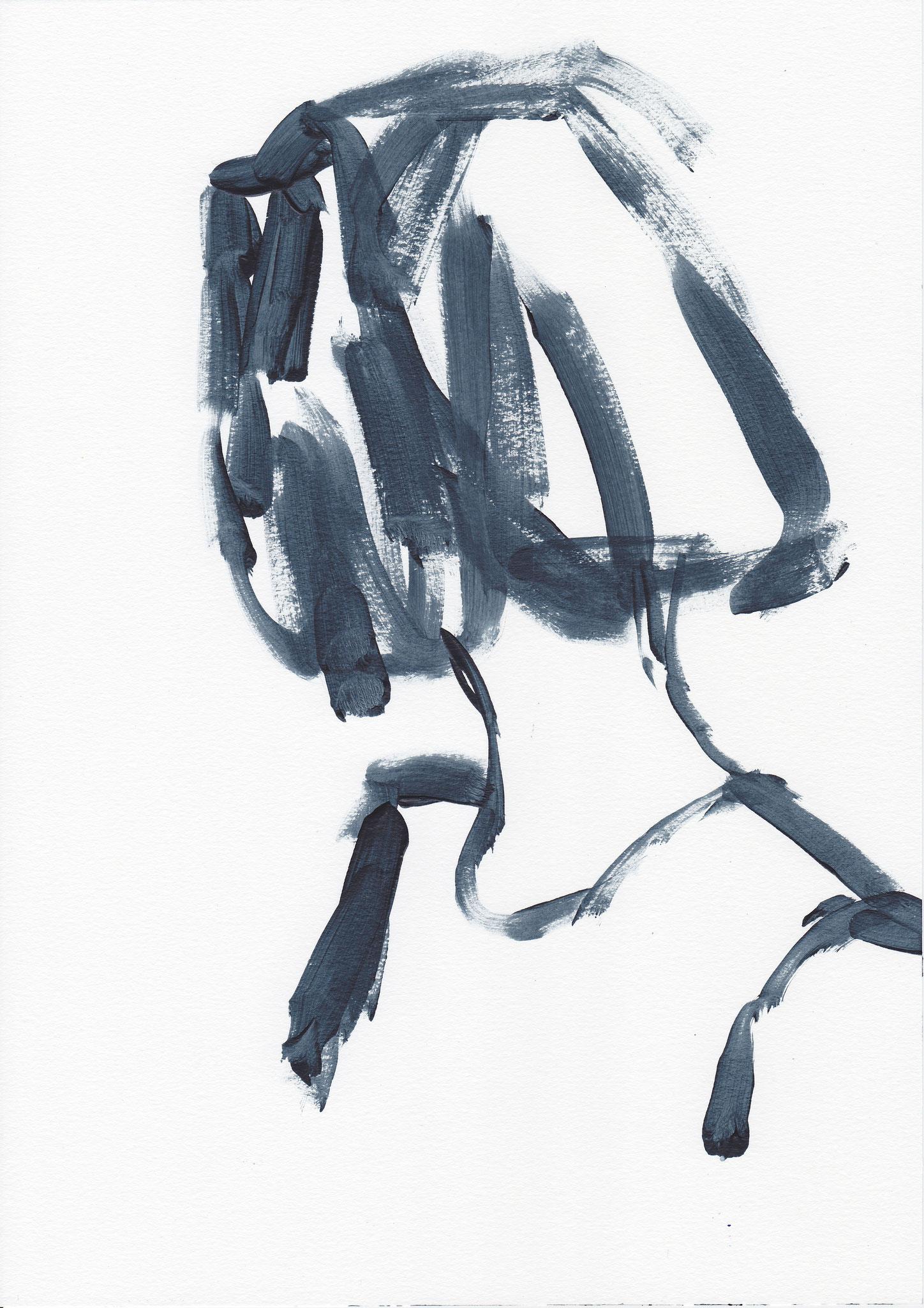 002 , acrylic on paper , 29.7 x 21cm , Selina Saranova