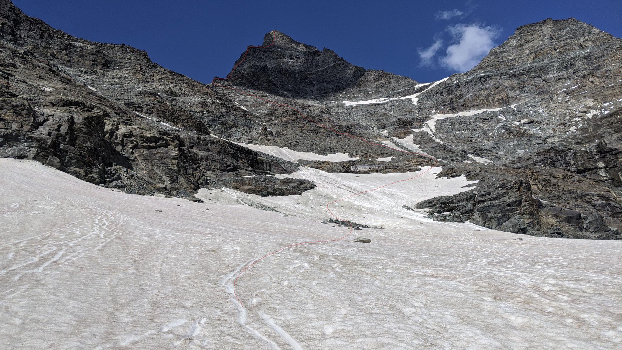 Combin de Valsorey mit unserer Aufstiegsroute: in den Meitin-Pass und von dort über den Meitin-Grat 3 Aufschwünge bis zum Gipfel